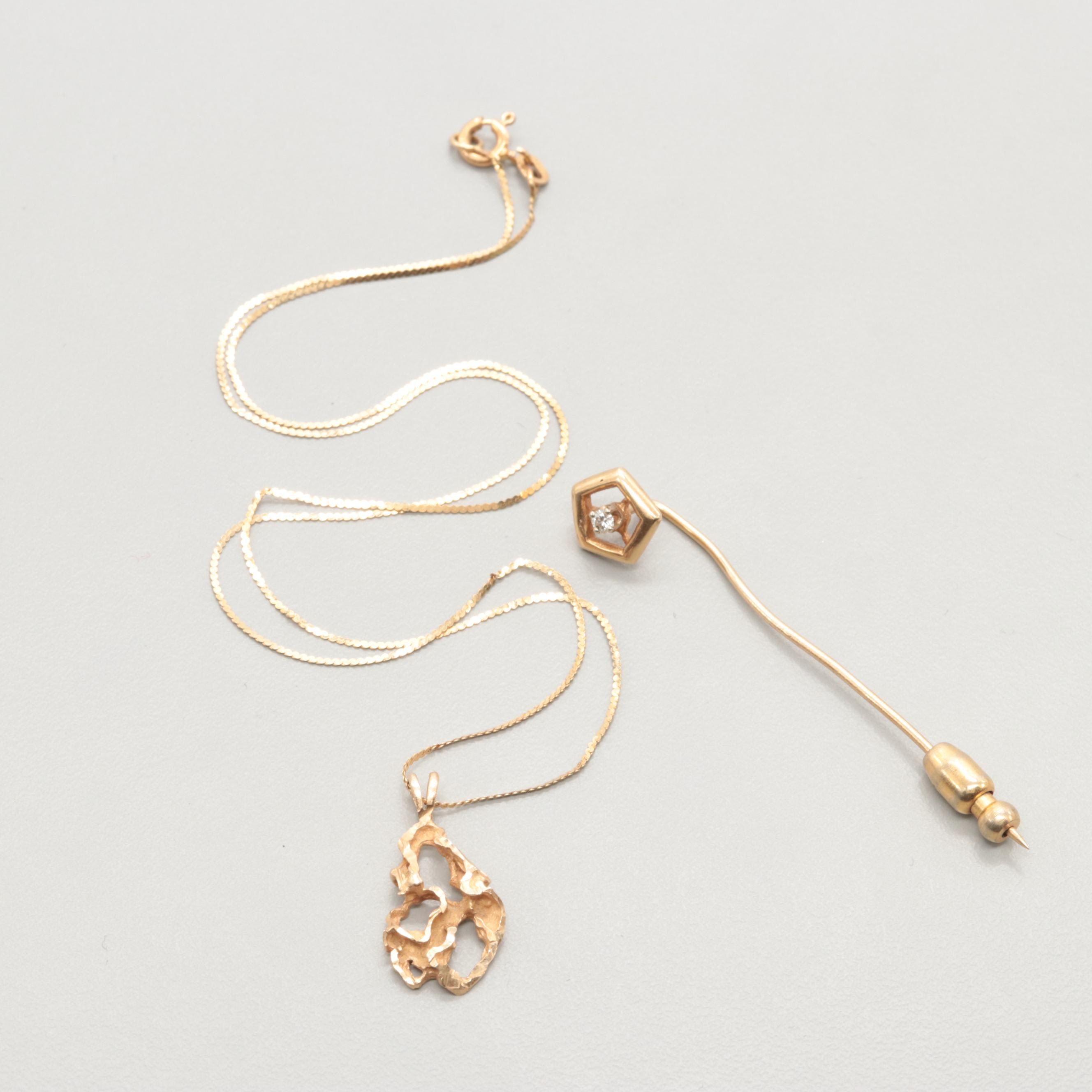 14K Yellow Gold Necklace and Diamond Stick Pin