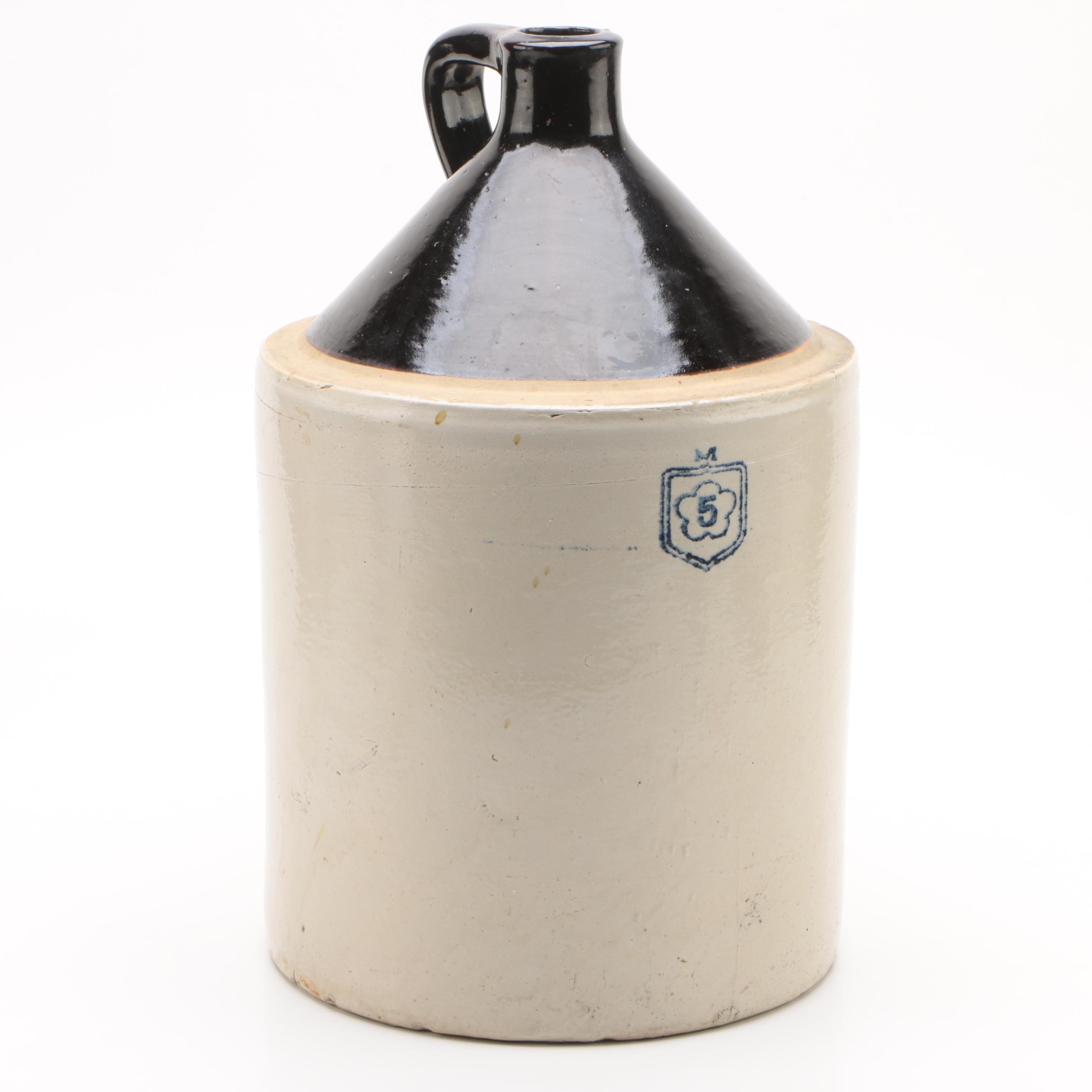 Nelson McCoy Five-Gallon Slip Glazed Stoneware Jug, Circa 1930s