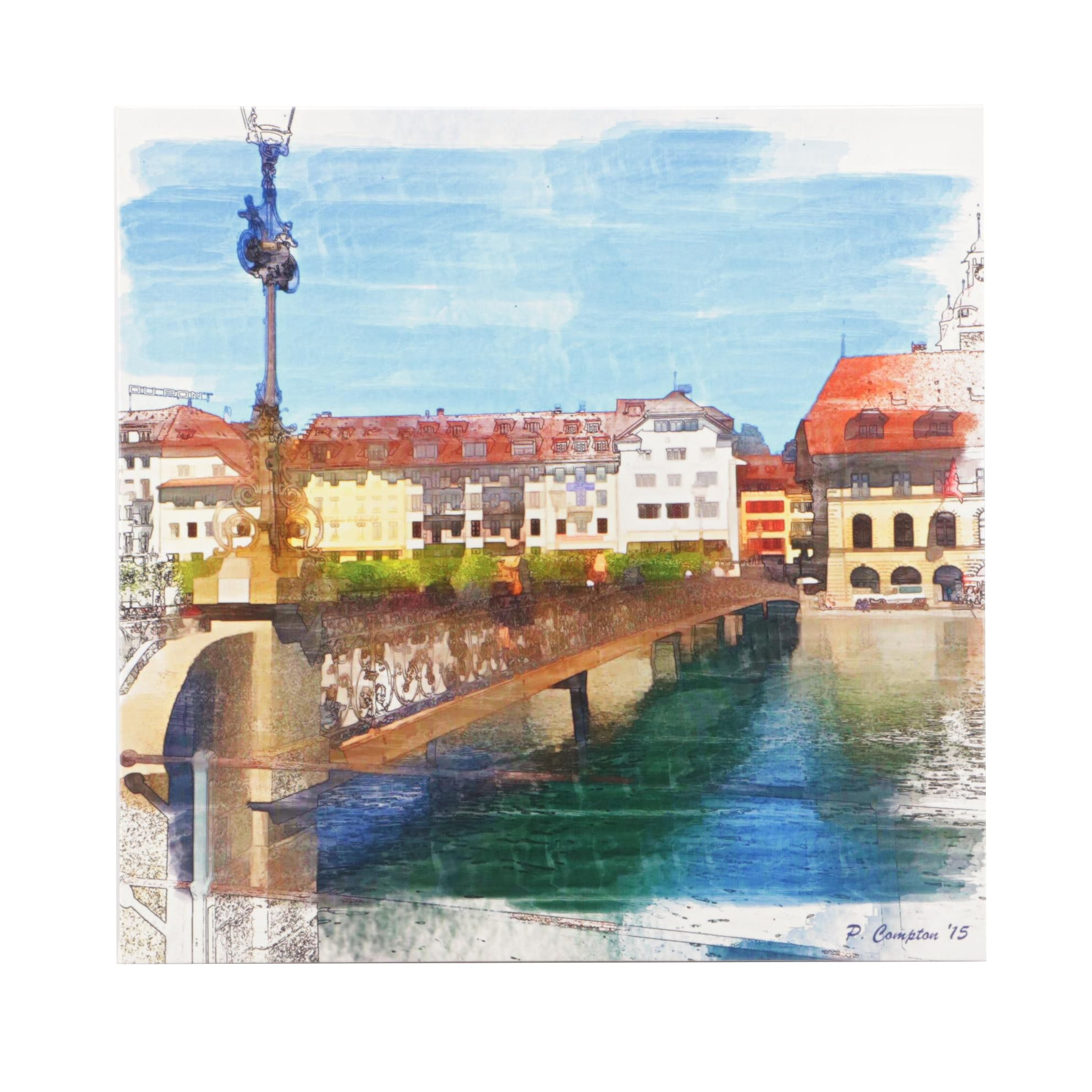 Giclee Print of European Cityscape after Phil Compton