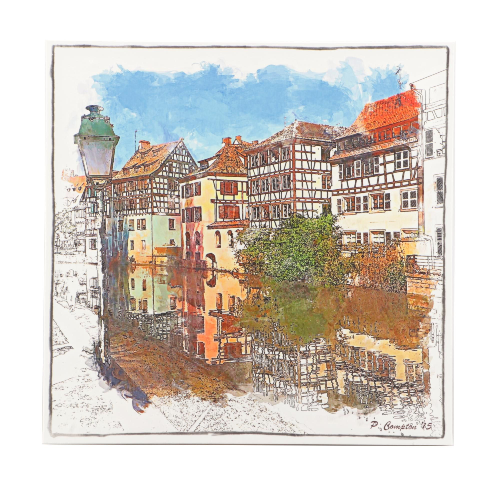 Giclee Print of European Street Scene after Phil Compton