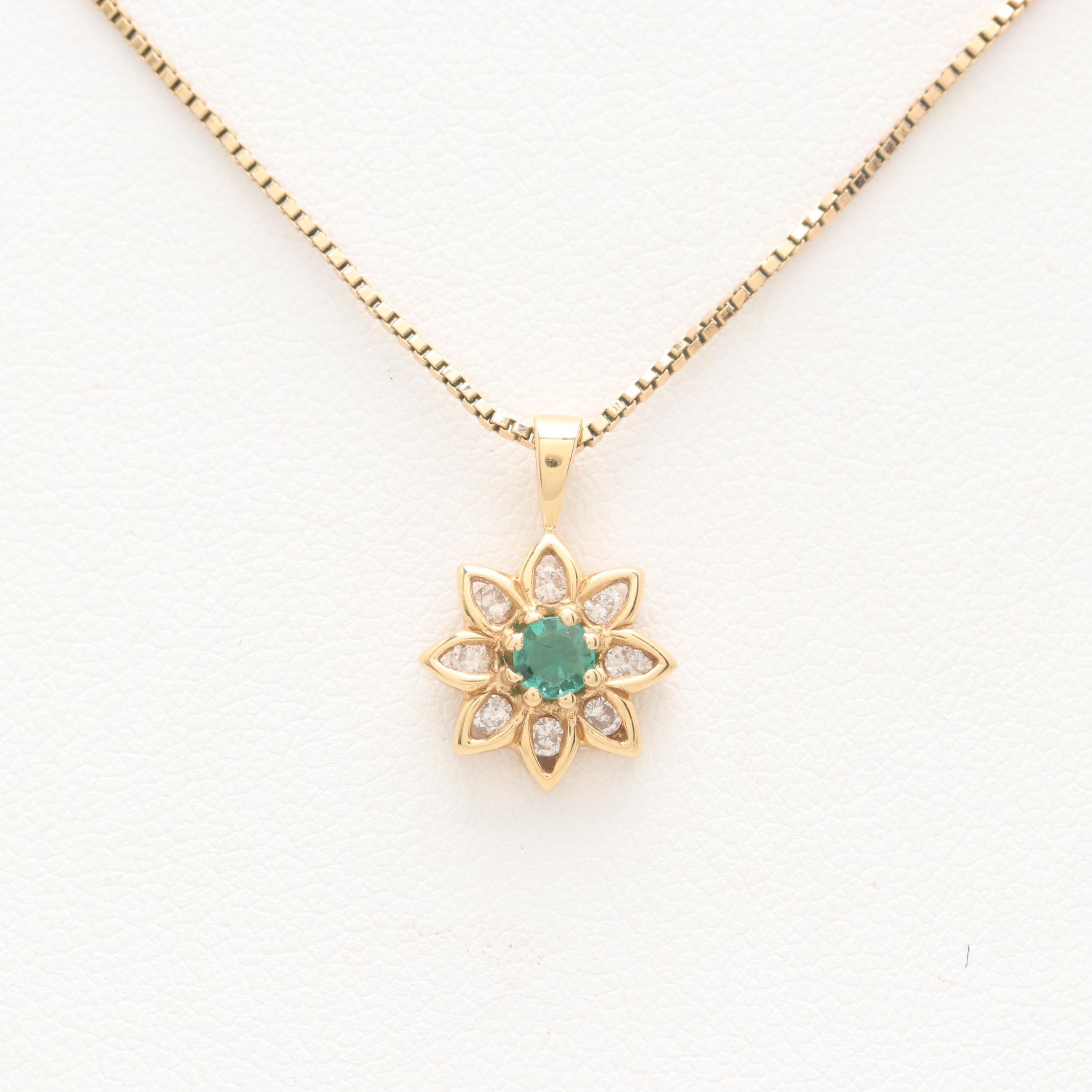 18K Yellow Gold Emerald and Diamond Pendant on 14K Yellow Gold Chain