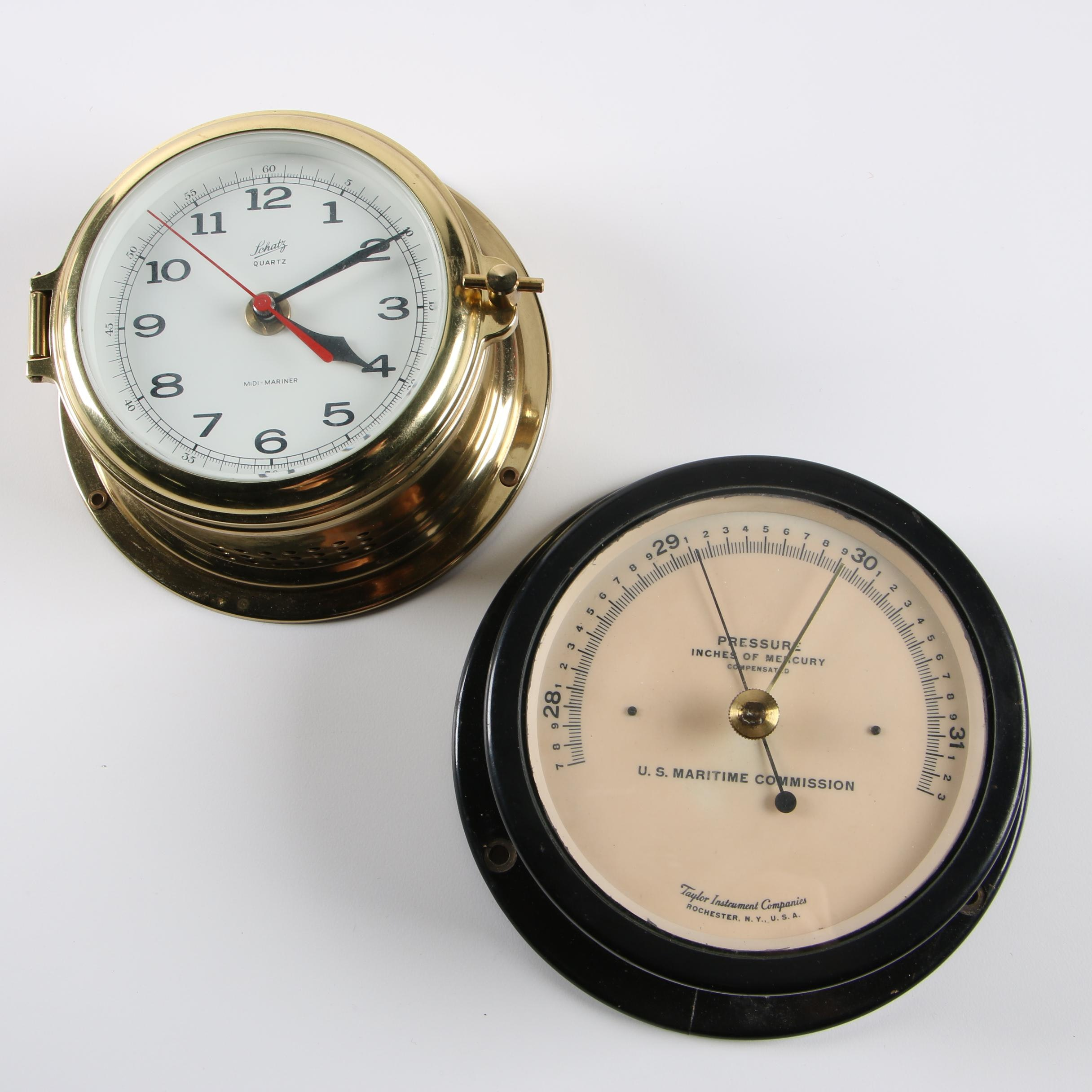 Schatz Quartz Midi-Mariner Ship's Clock and Vintage Maritime Barometer