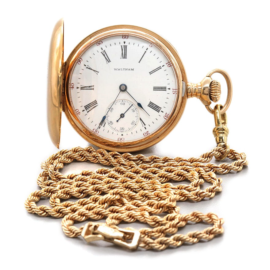 Circa 1901 Waltham 14K Yellow Gold Pocket Watch With Fob Chain