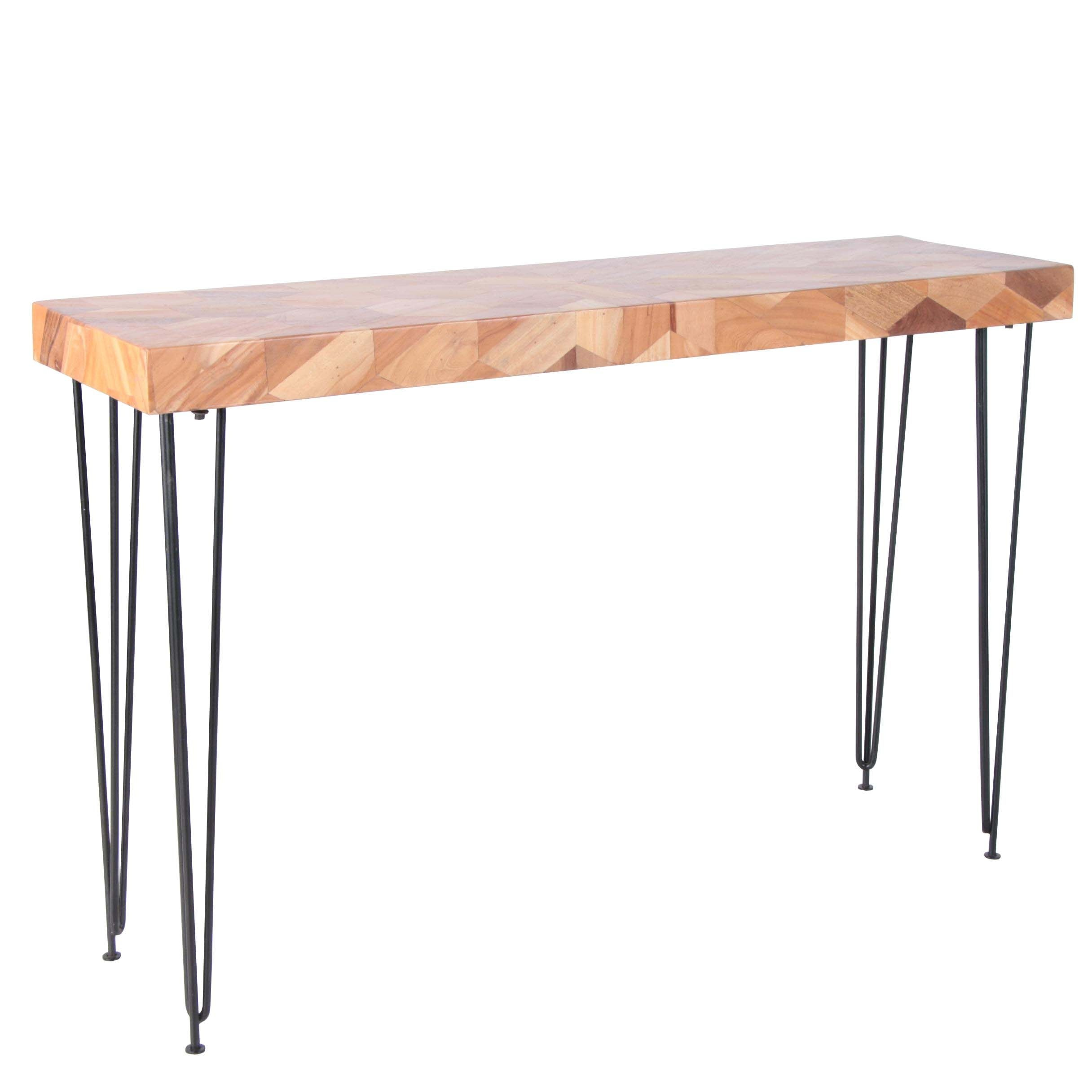 "Mid Century Modern Style ""Kaleidoscope"" Acacia Parquetry Sofa Table"