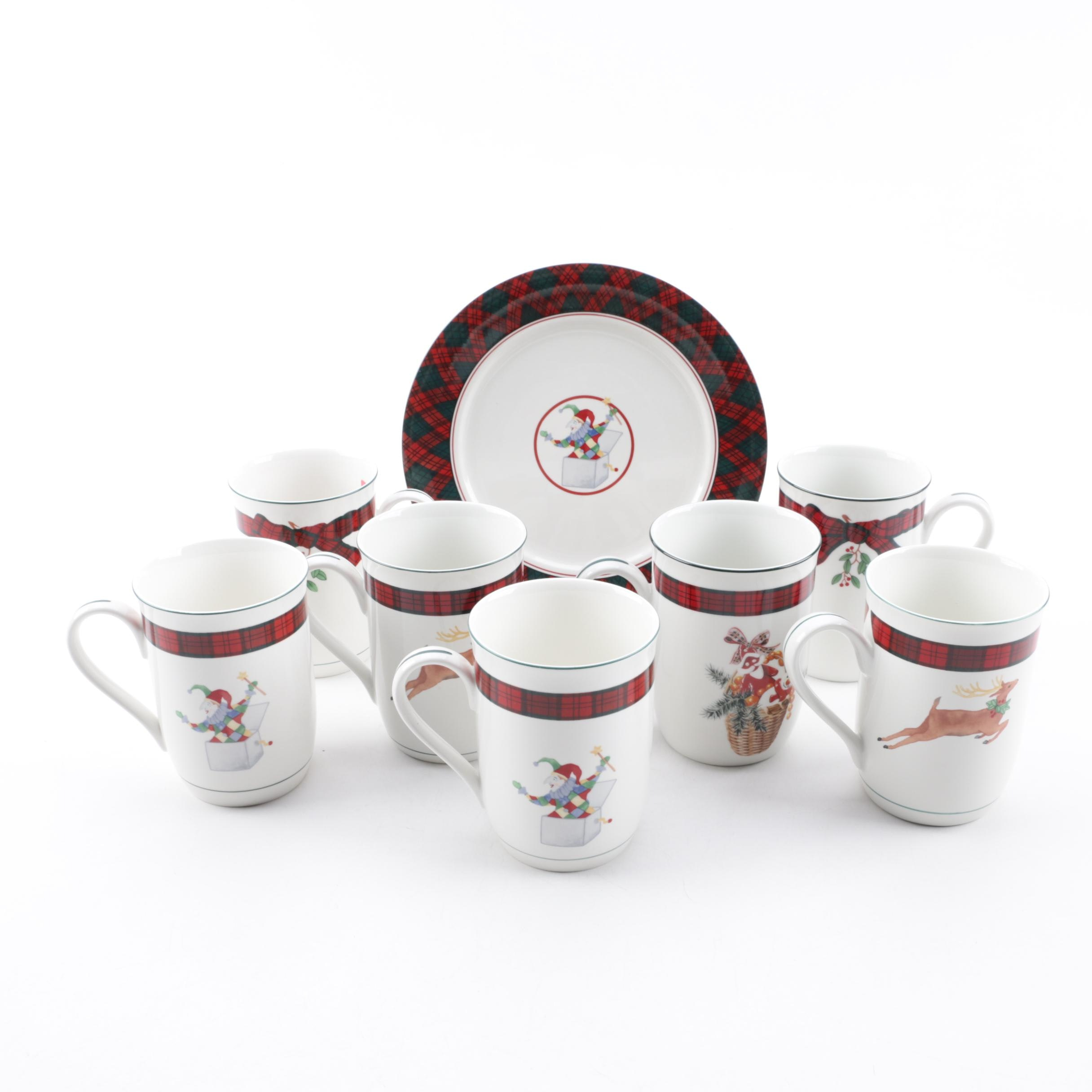 "Vintage Arita and Sasaki ""Tartan"" Ceramic Mugs and Salad Plates"