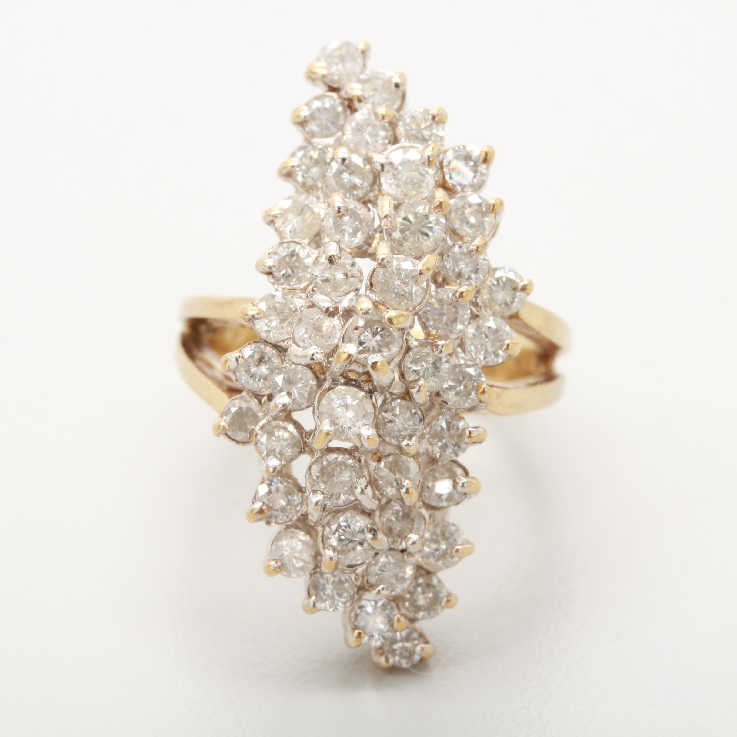 10K Yellow Gold 3.00 CTW Diamond Navette Ring