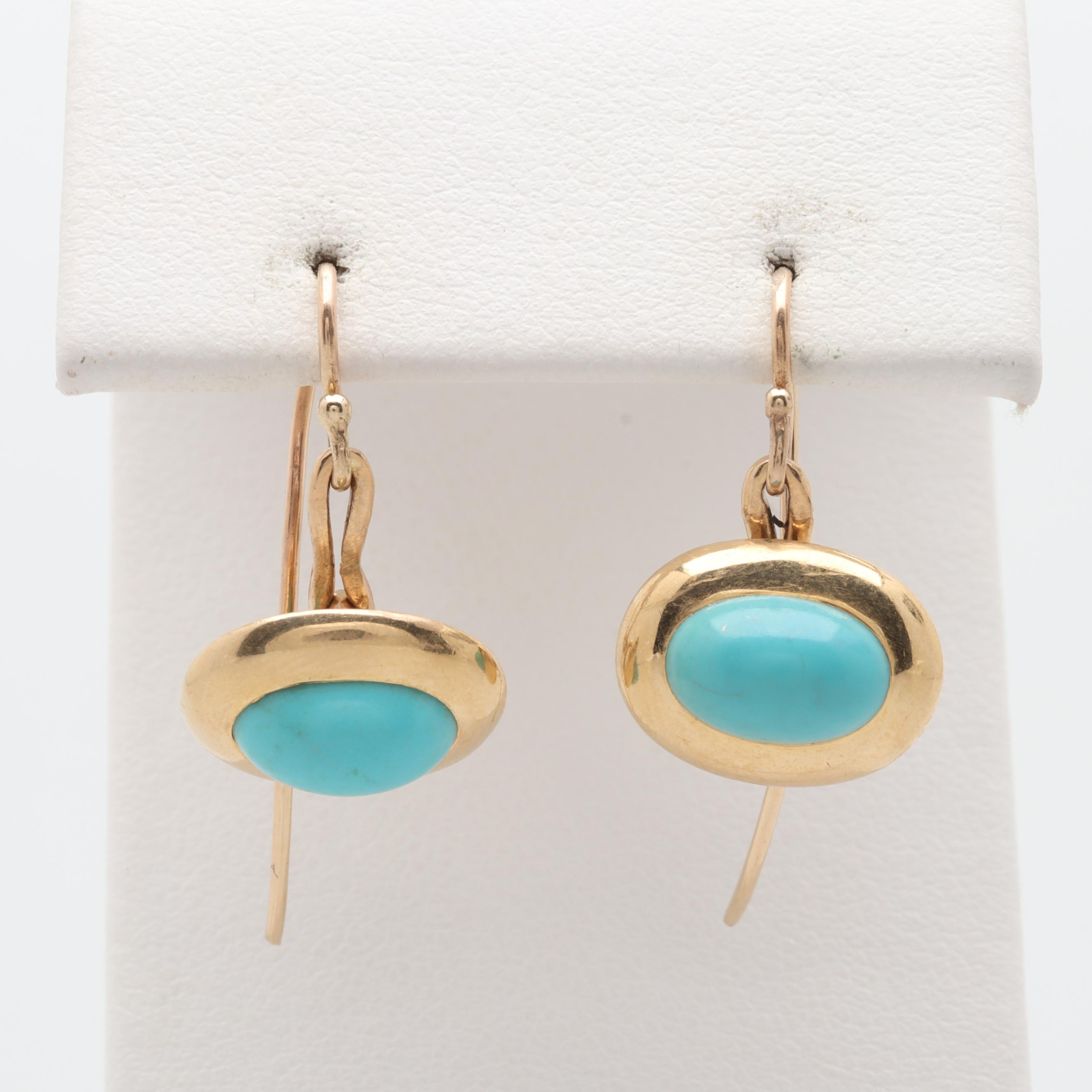 14K and 18K Yellow Gold Howlite Earrings