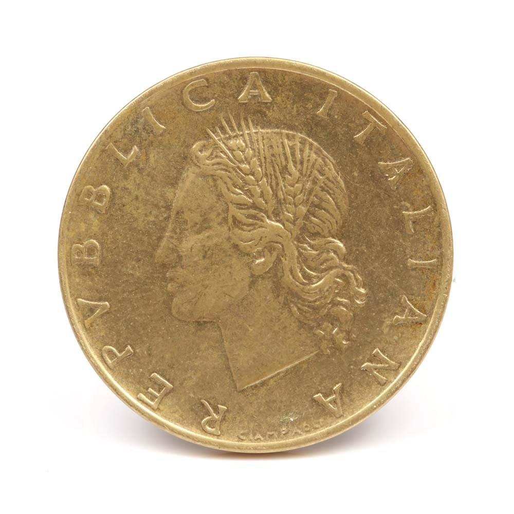 Milor 14K Yellow Gold Ring with 1985 Italian 20 Lira Coin