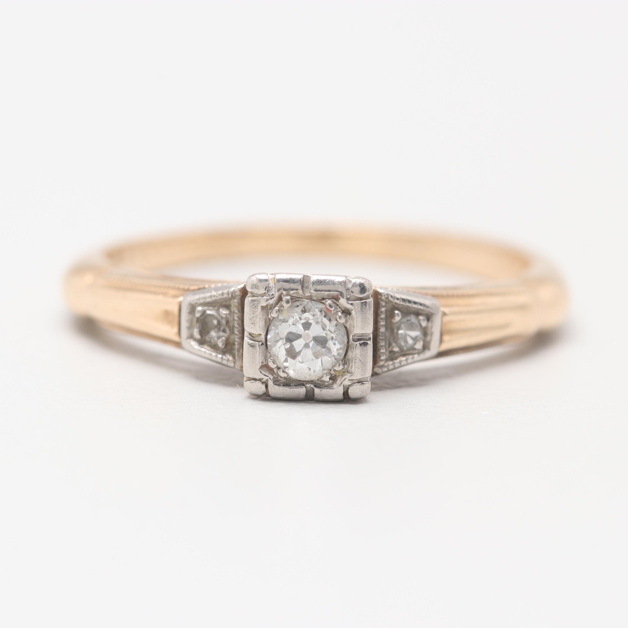 14K Yellow Gold Diamond Ring with Palladium Accent
