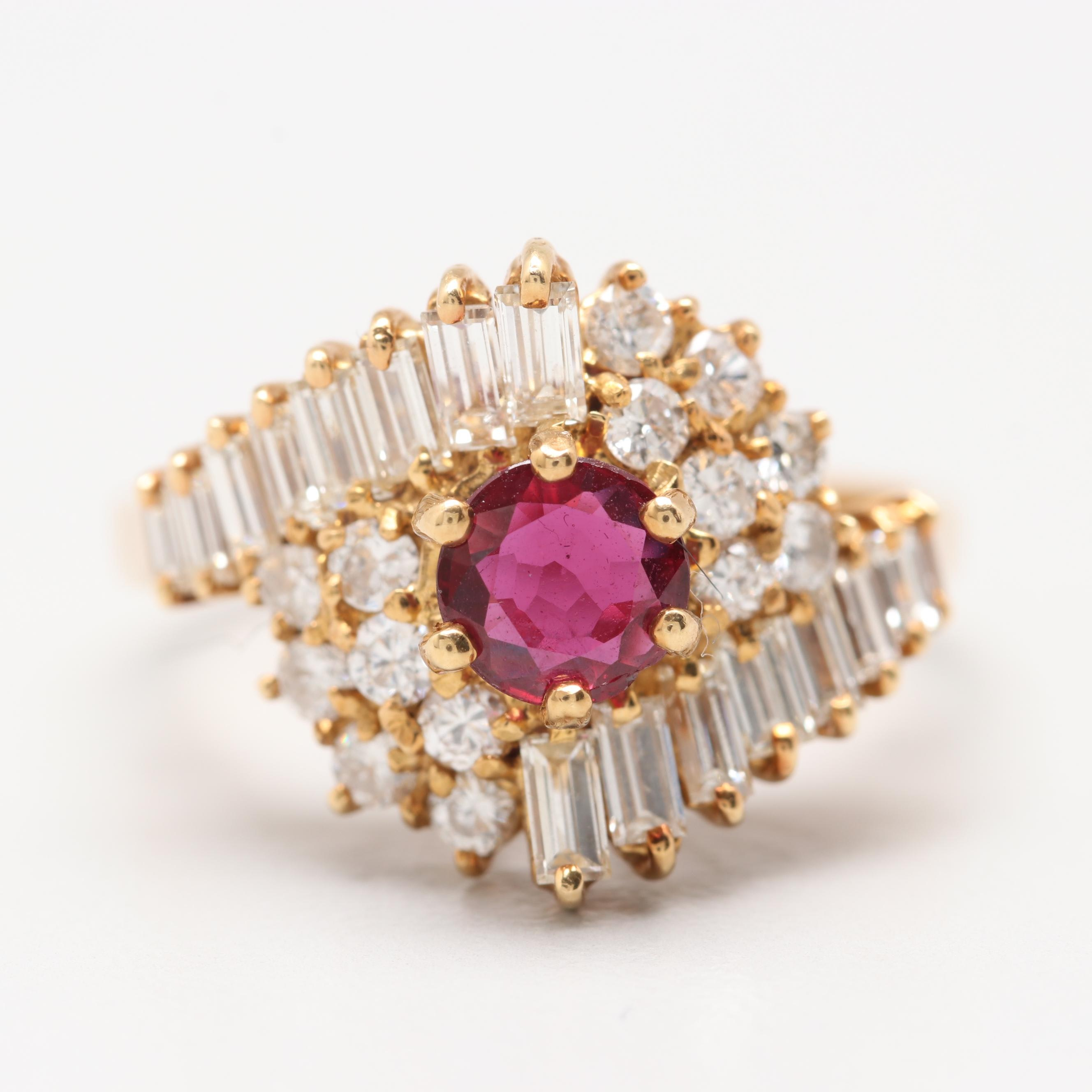 18K Yellow Gold Ruby and 1.18 CTW Diamond Ring