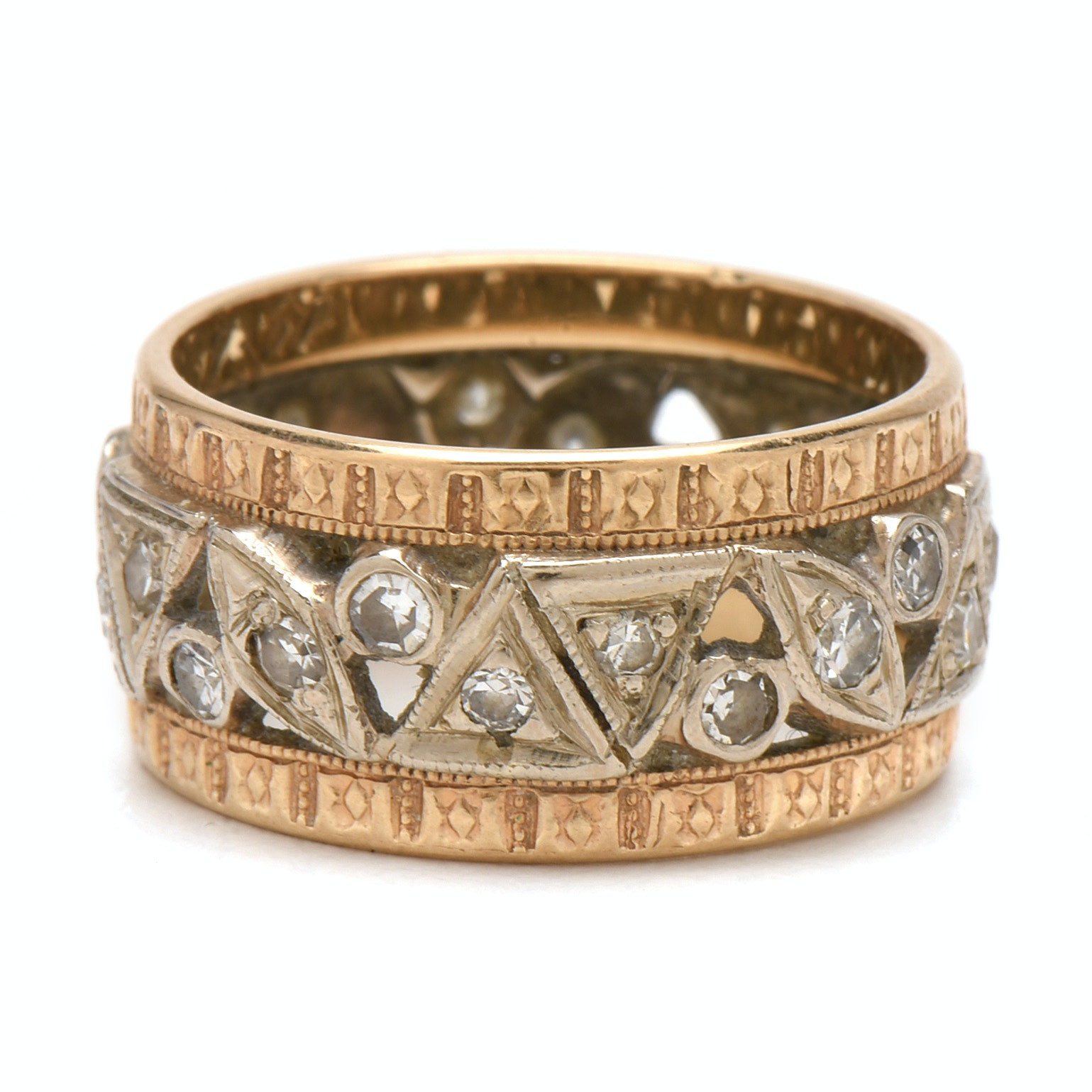 Retro Period 14K Two-Tone Diamond Cigar Band Ring