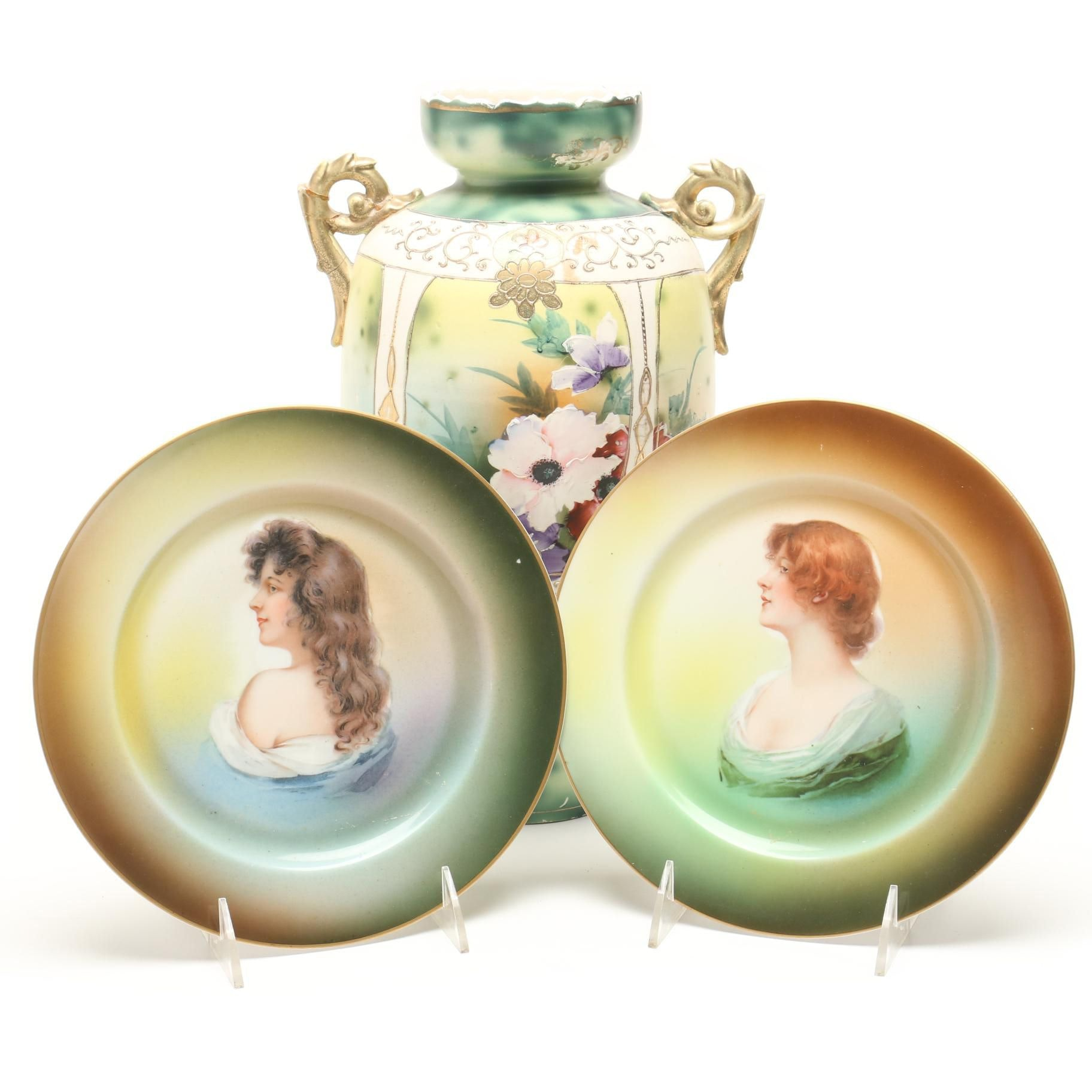 Hand-Painted Nippon Urn Vase and Pair of Plates