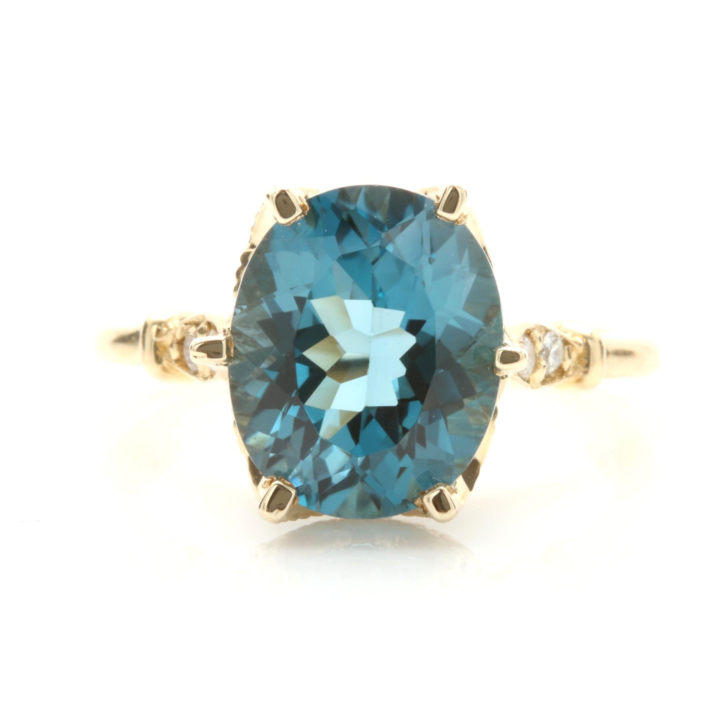 14K Yellow Gold Blue Topaz and Diamond Ring