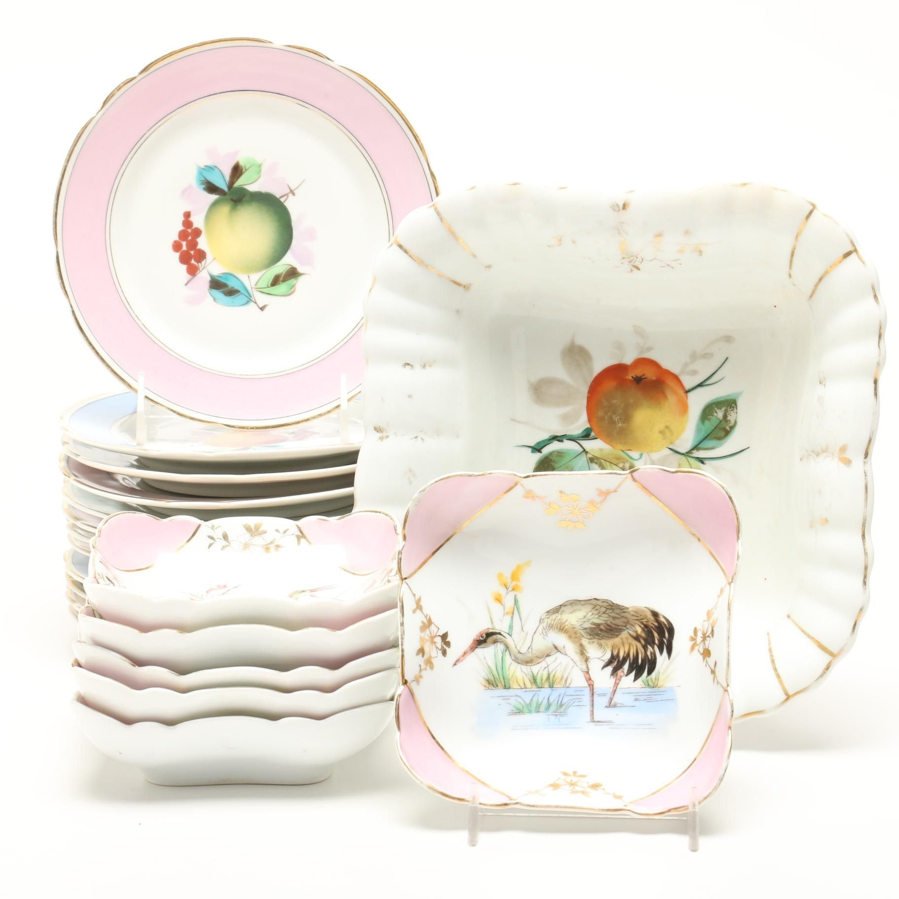 Decorative Desert Plates With Cranes and Fruit