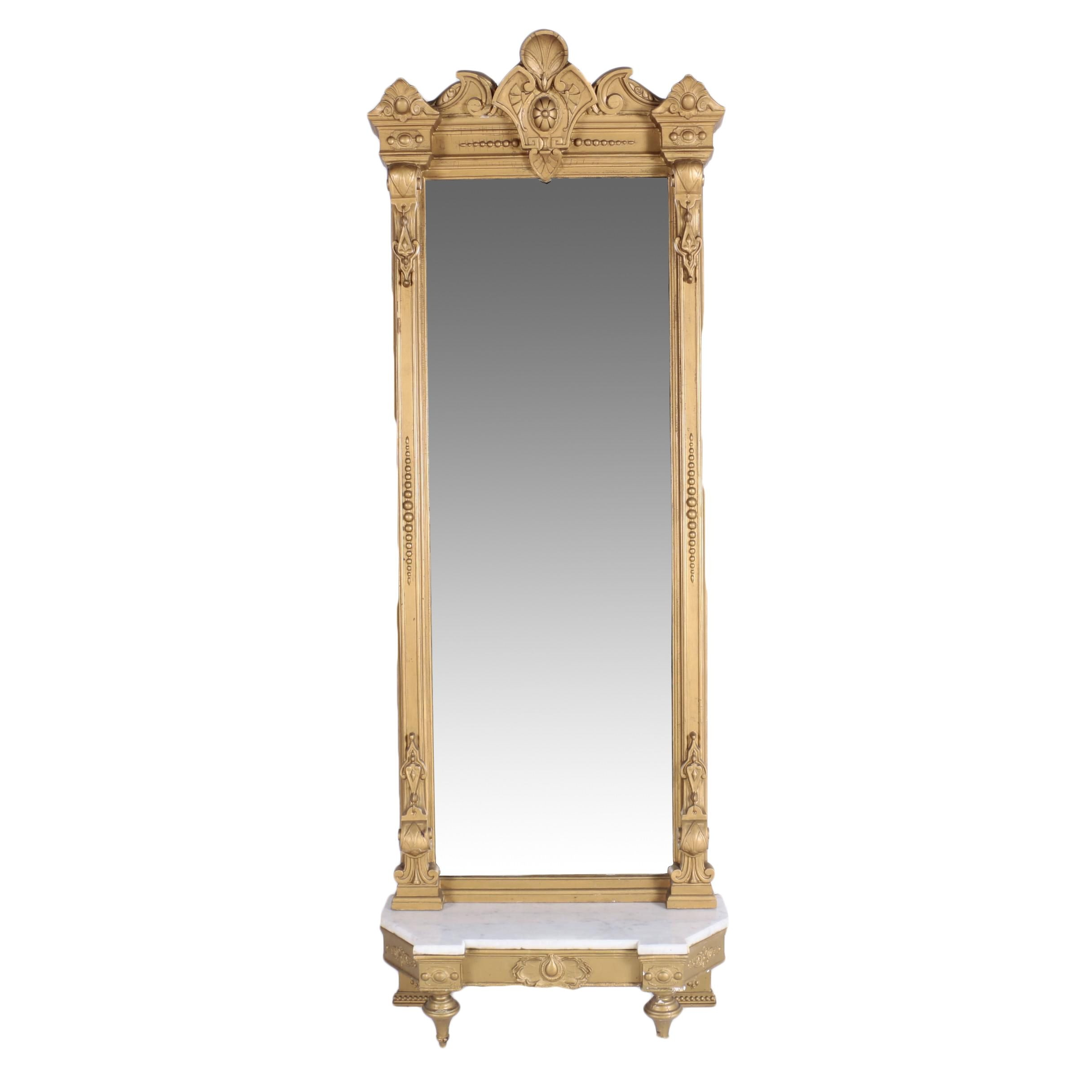 Victorian Giltwood Pier Mirror with White Marble-Top Console, Late 19th Century