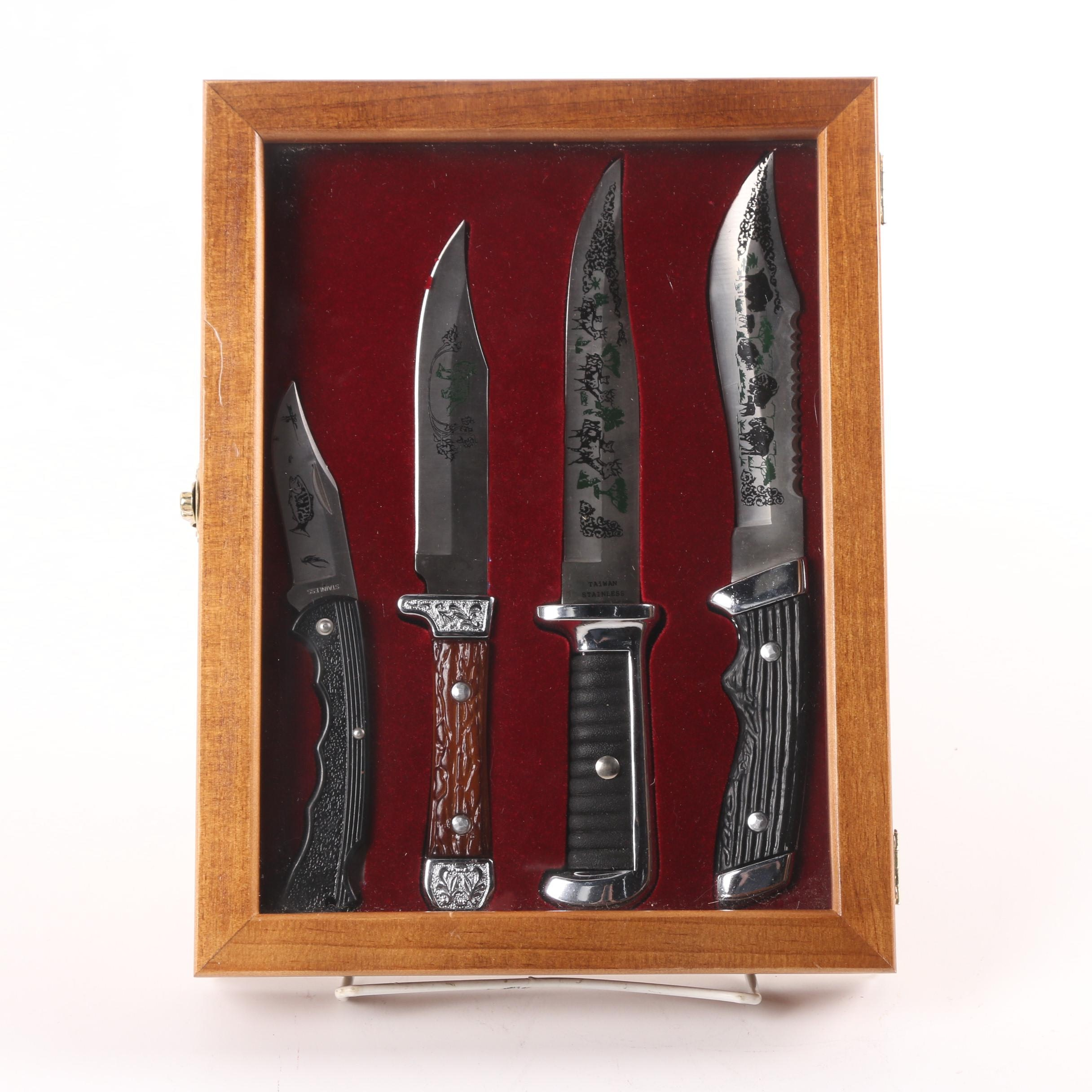 Stainless Steel Hunting Knives in Wooden Display Case
