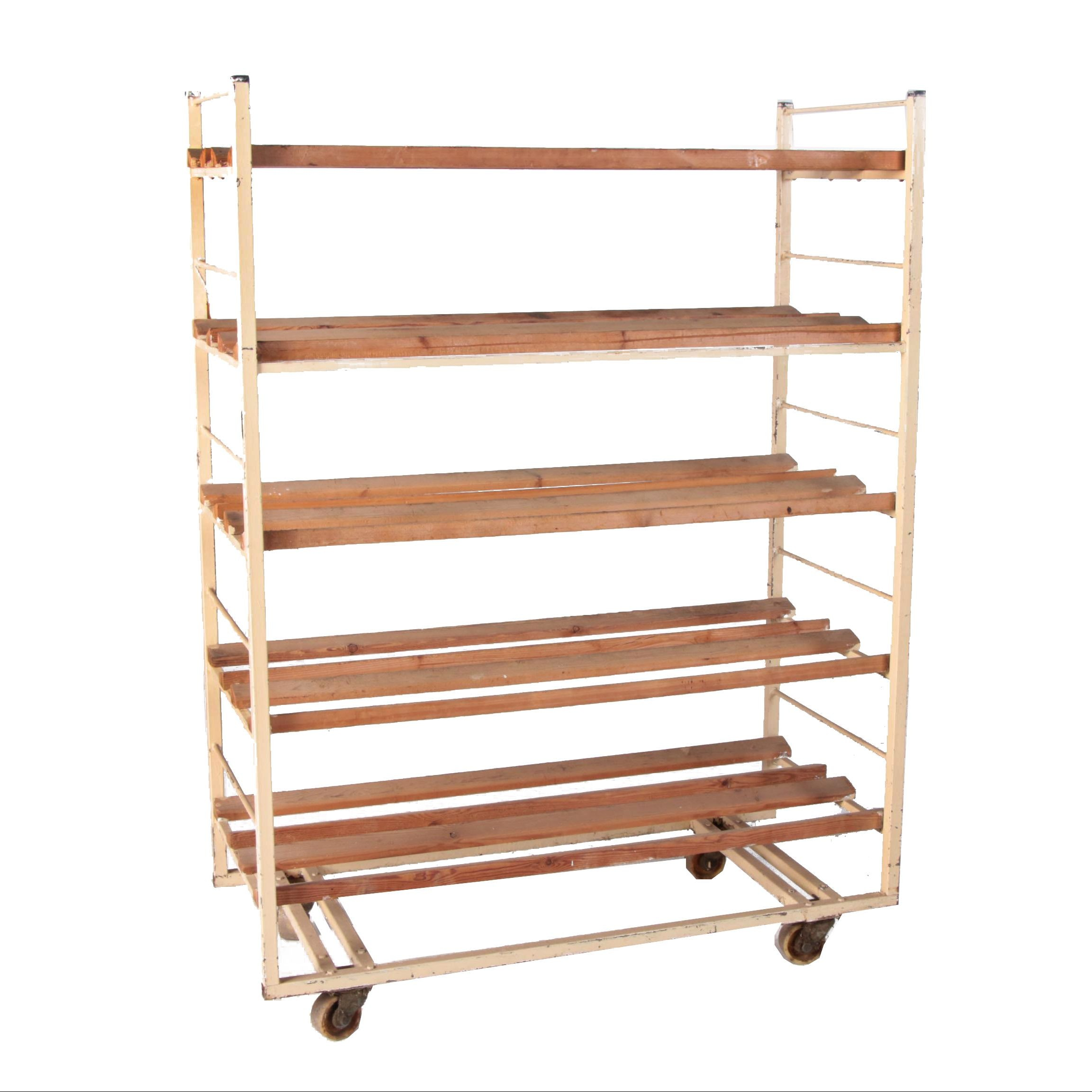 Industrial Style Metal and Wood Belgian Bakers Rack, Late 20th Century