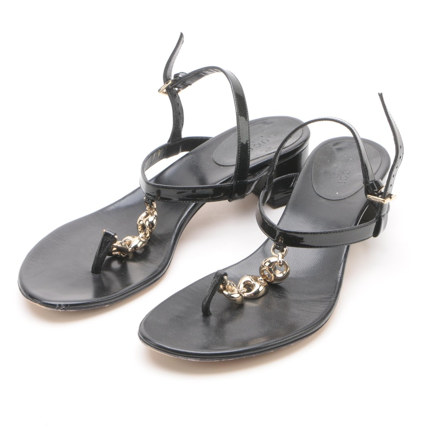 3db5c8facf0f Gucci Black Patent Leather Chain Link T-Strap Sandals   EBTH