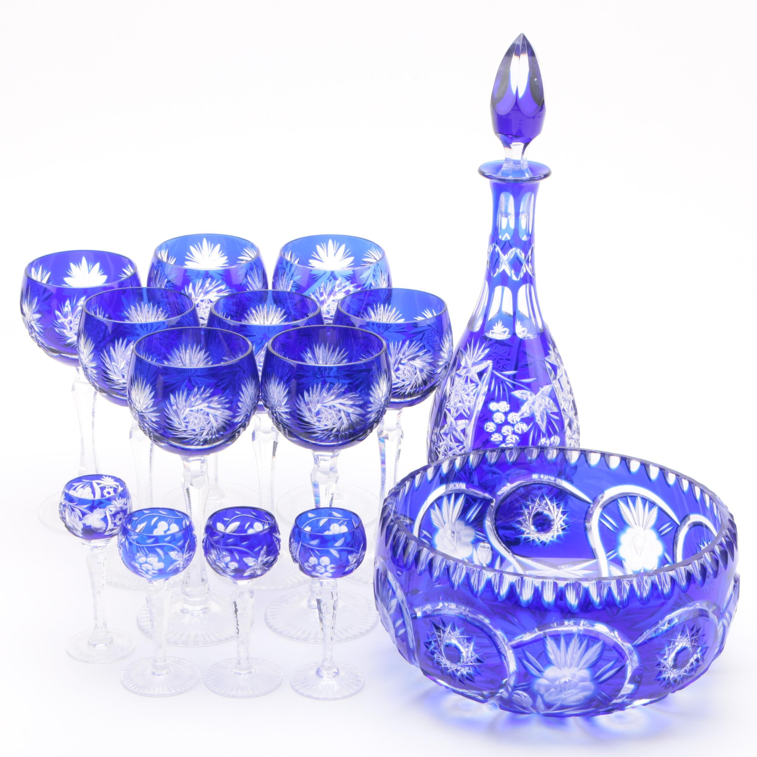 Cobalt Cut to Clear Stemware and Decanter with Serving Bowl featuring Nachtmann