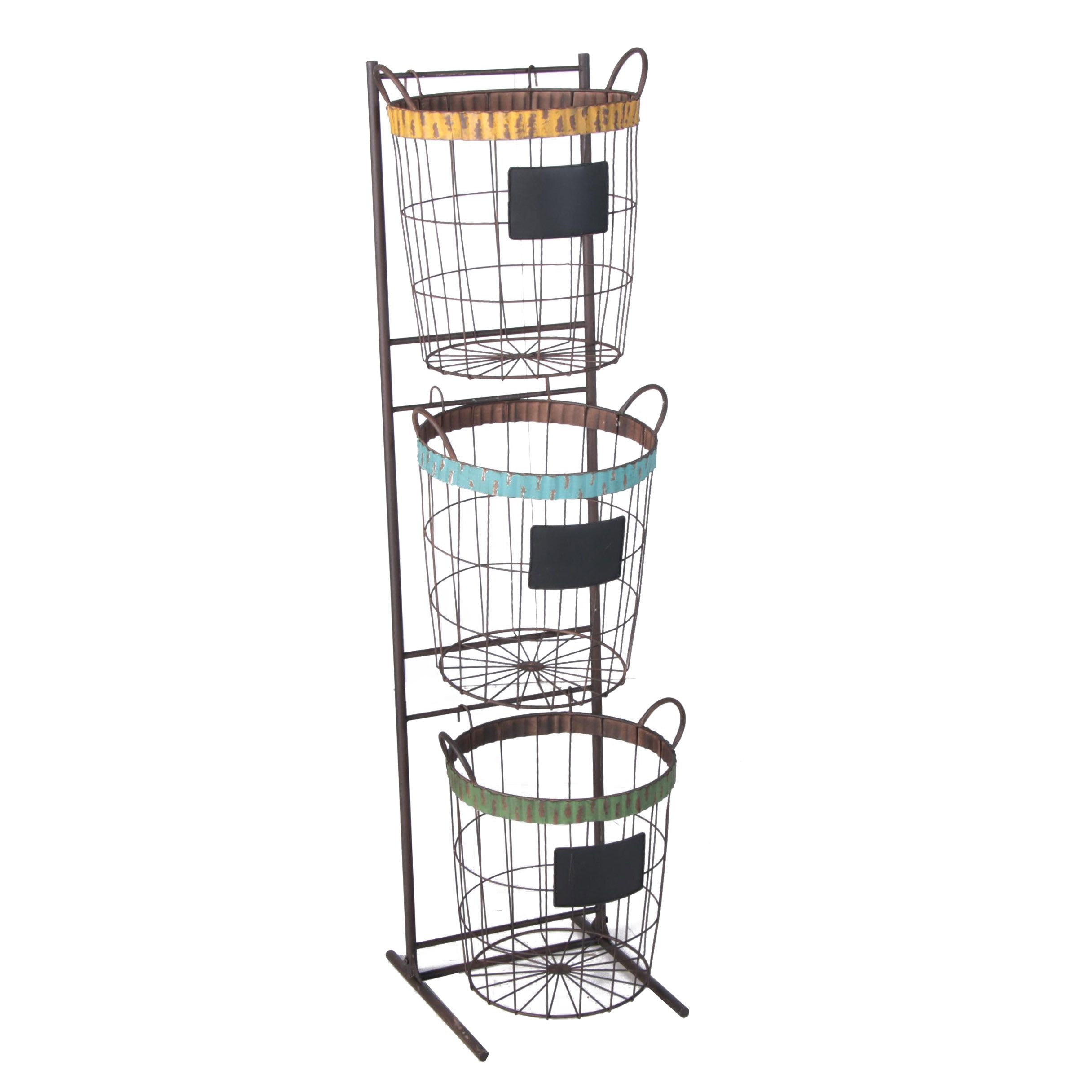 Industrial Style Metal Fruit Baskets with Tiered Display Stand, 21st Century