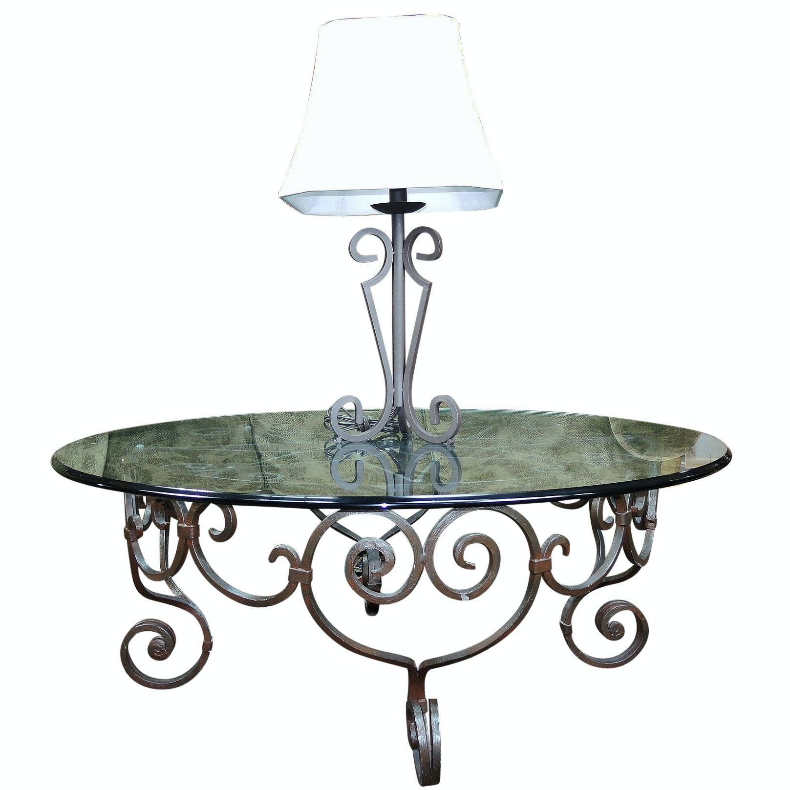 Scrolled Metal Table and Lamp