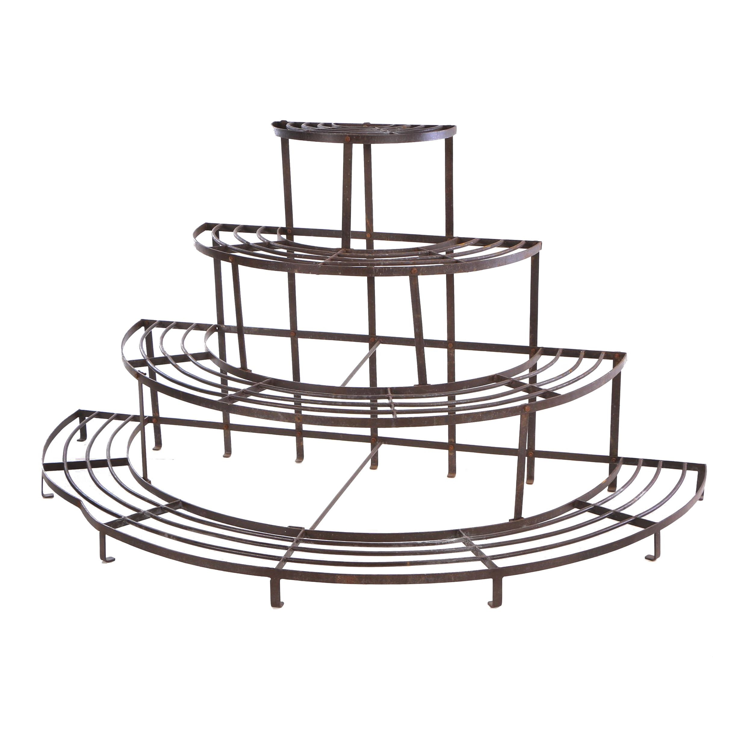 Industrial Style Metal Four-Tier Plant Stand, Mid 20th Century
