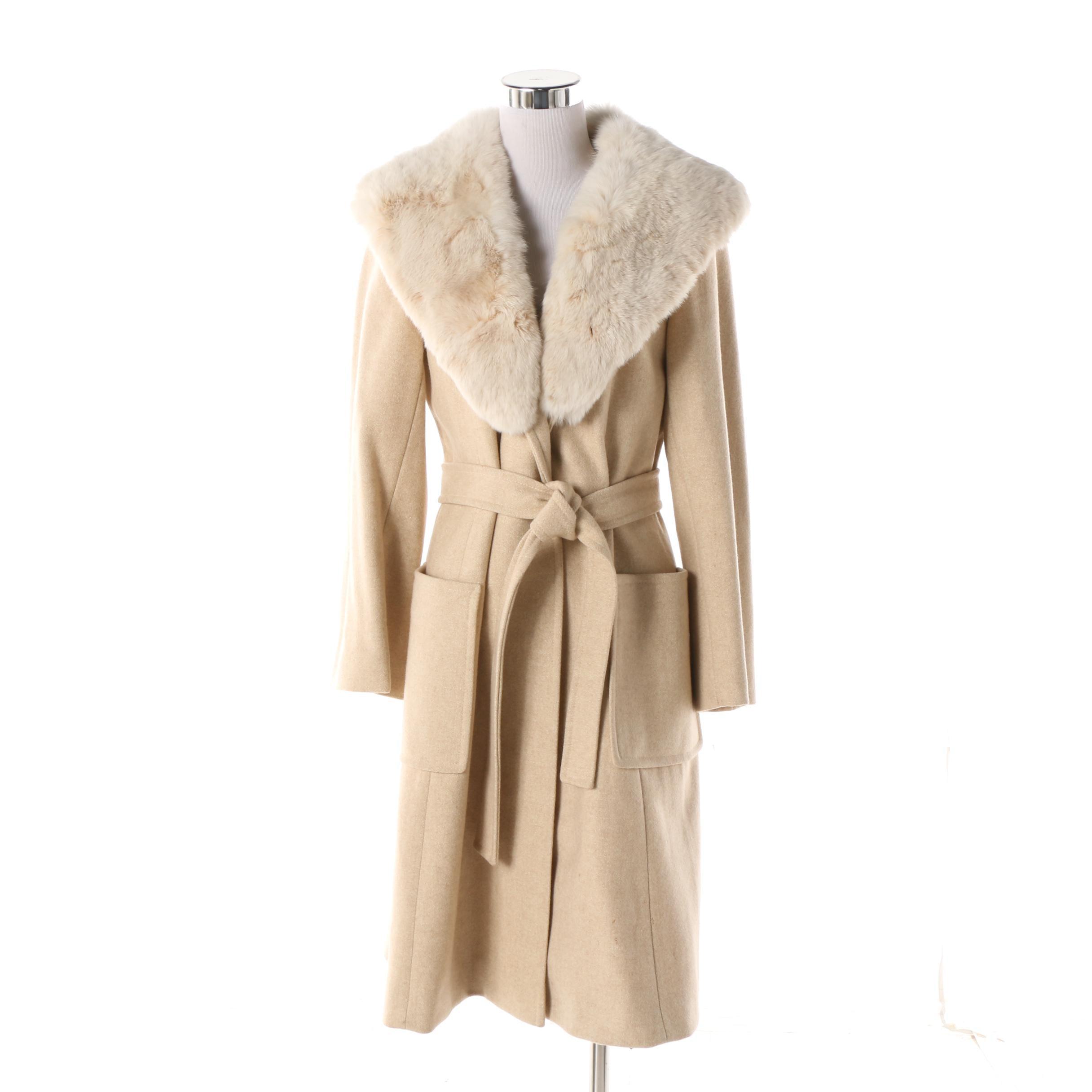 Women's Vintage Youthcraft Oatmeal Wool Princess Coat with Rabbit Fur Collar