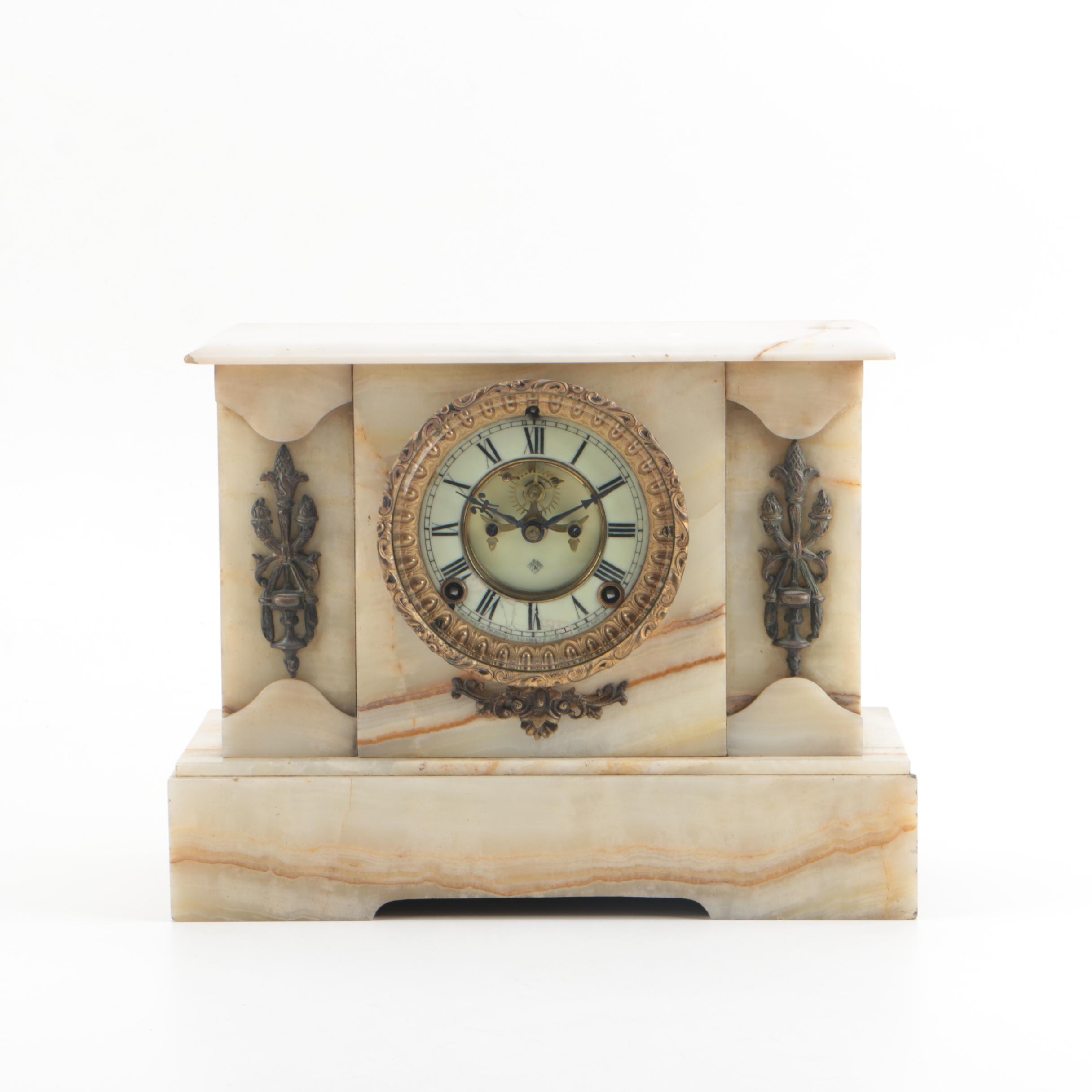 Antique Ansonia Clock Co. Marble Mantel Clock