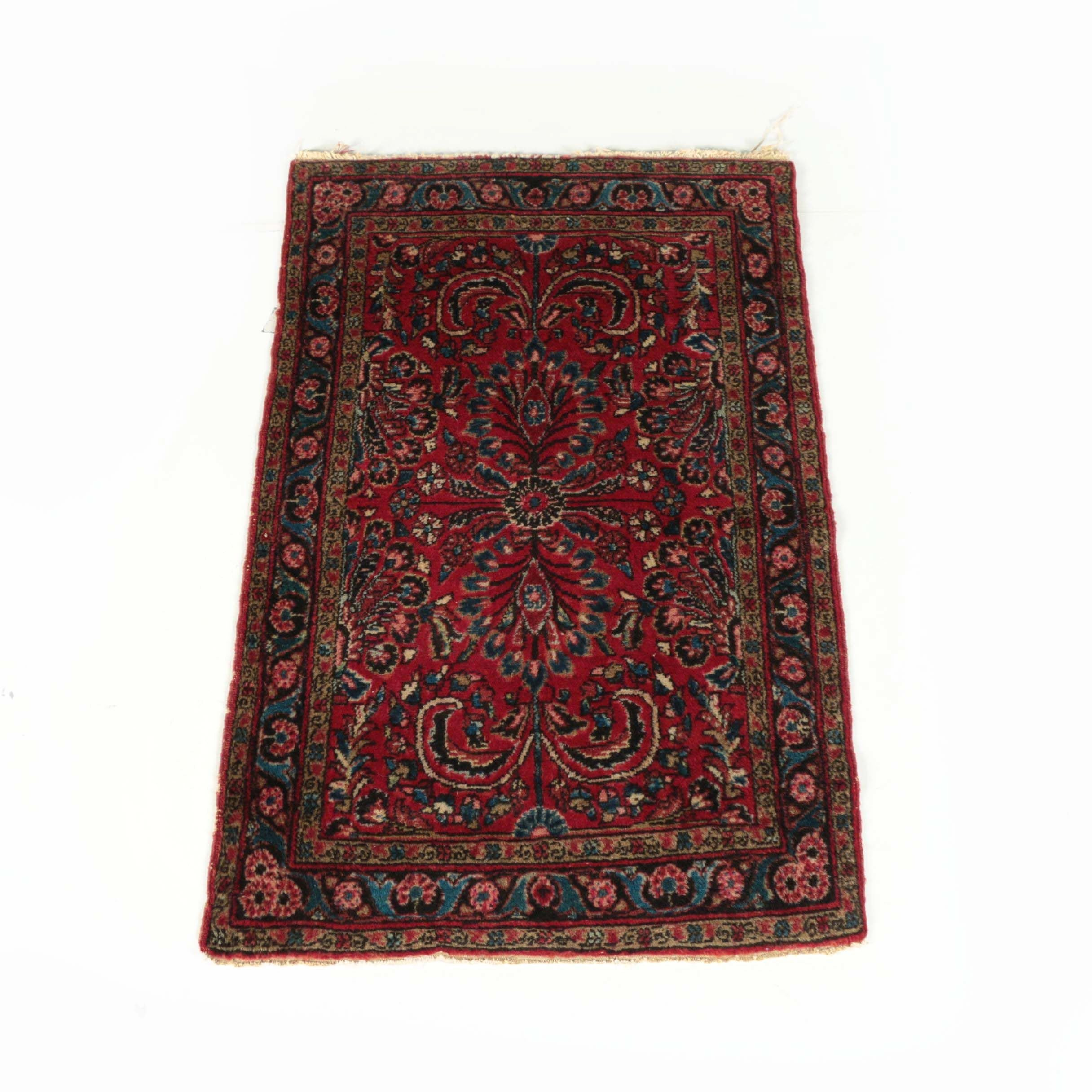 Vintage Hand-Knotted Persian Mehriban Wool Area Rug