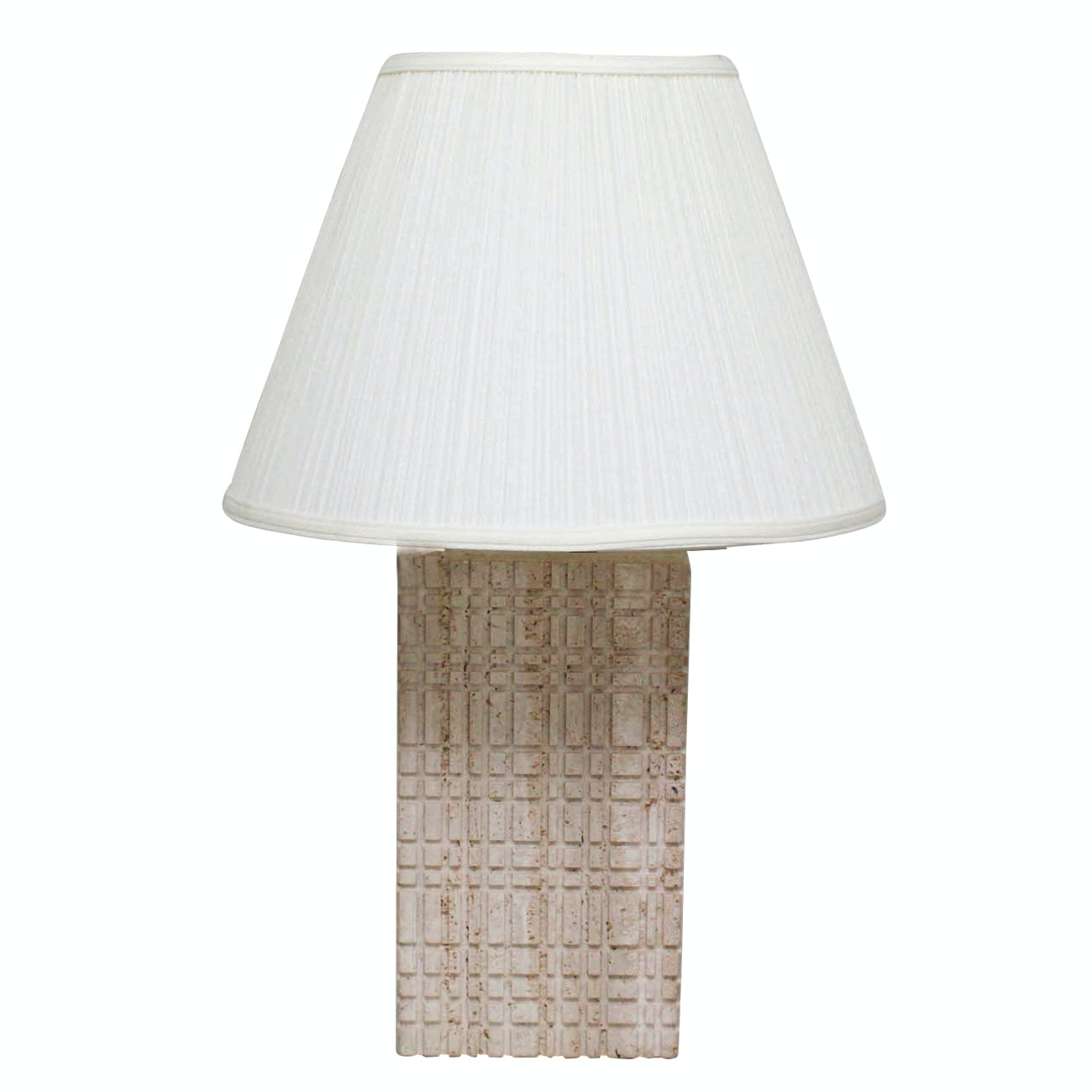 White Stone Table Lamp