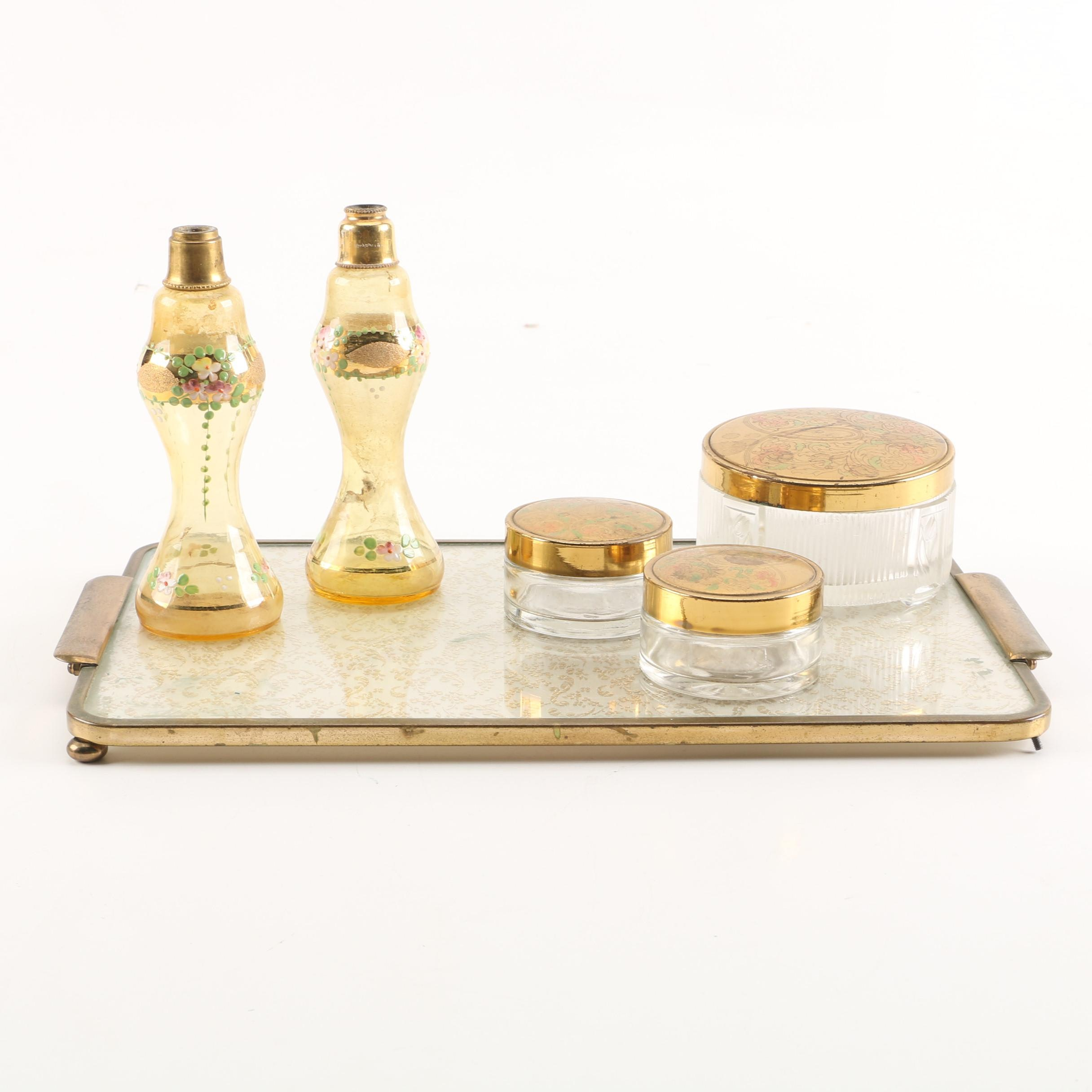 Vintage Vanity Tray, Powder Boxes, and Oil Lamp Bottles