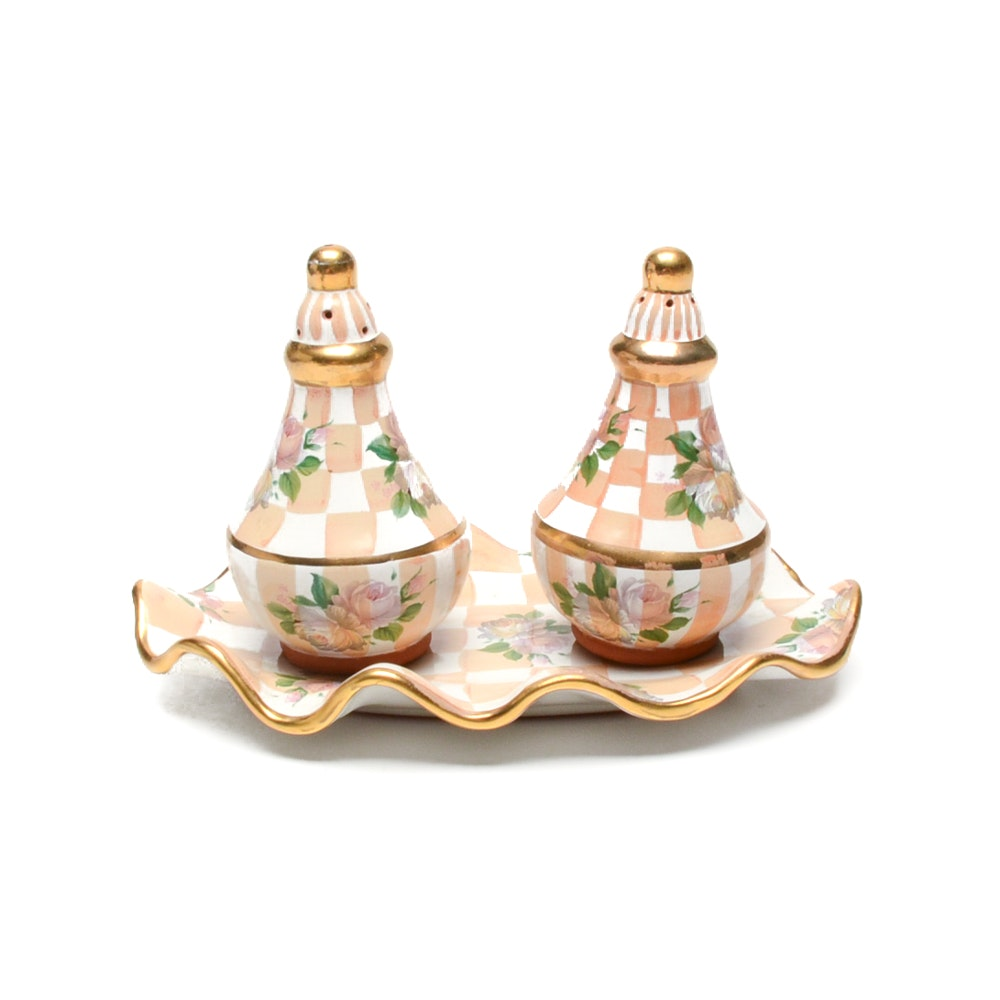 MacKenzie Childs Salt and Pepper Shakers with Decorative Tray