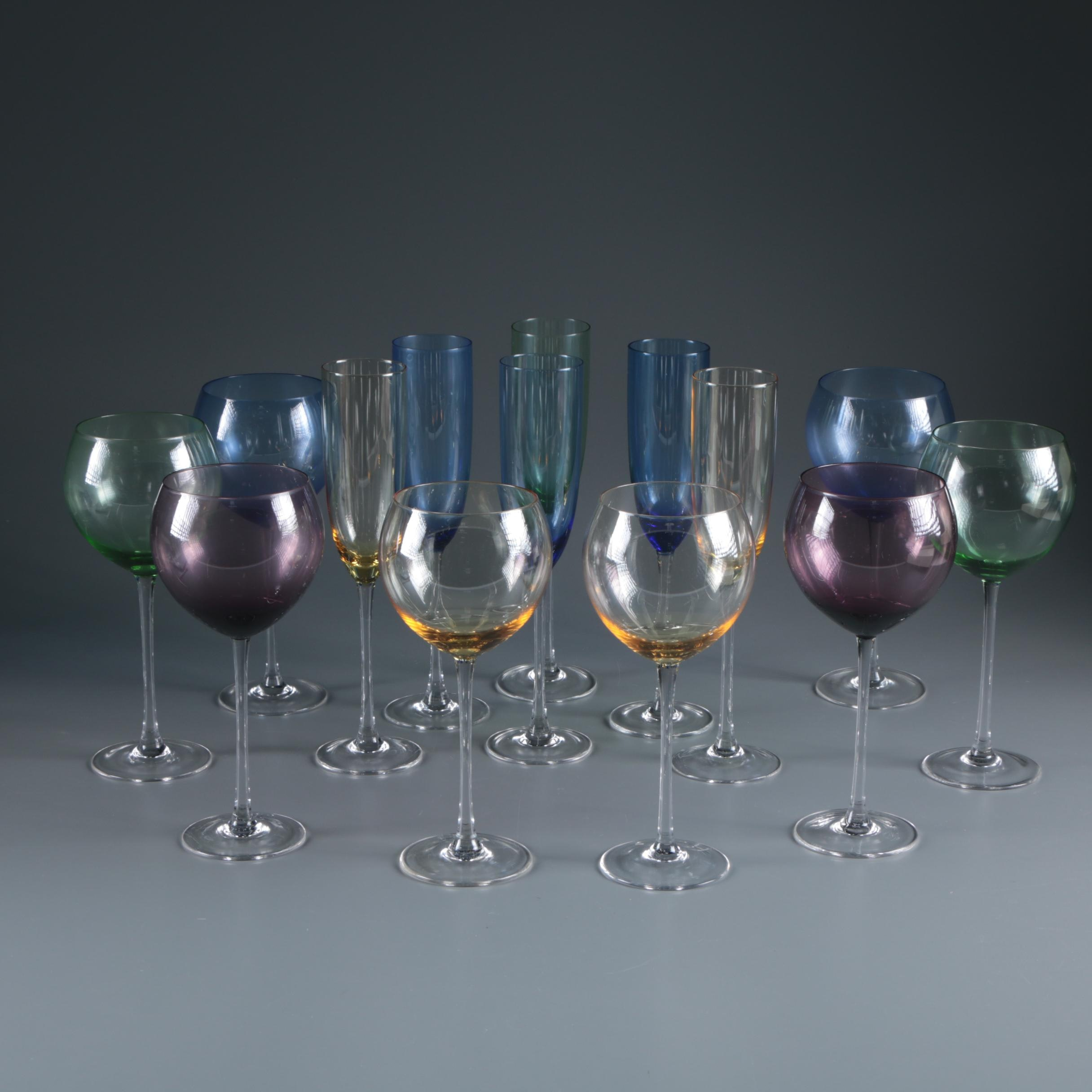 "Lenox ""Gems"" Flutes and Balloon Wine Glasses"