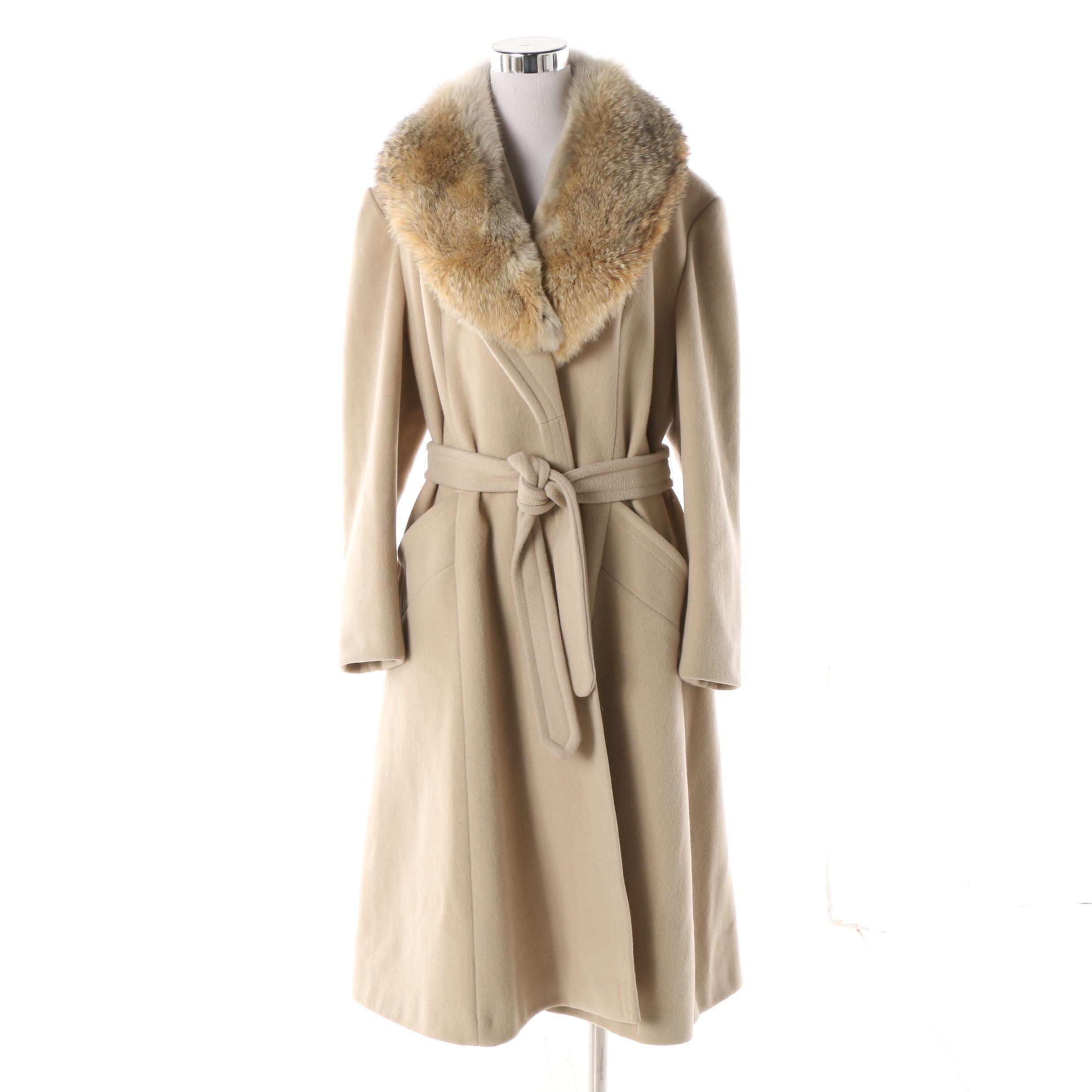 Women's Vintage Alorna Beige Wool Blend Coat with Coyote Fur Collar