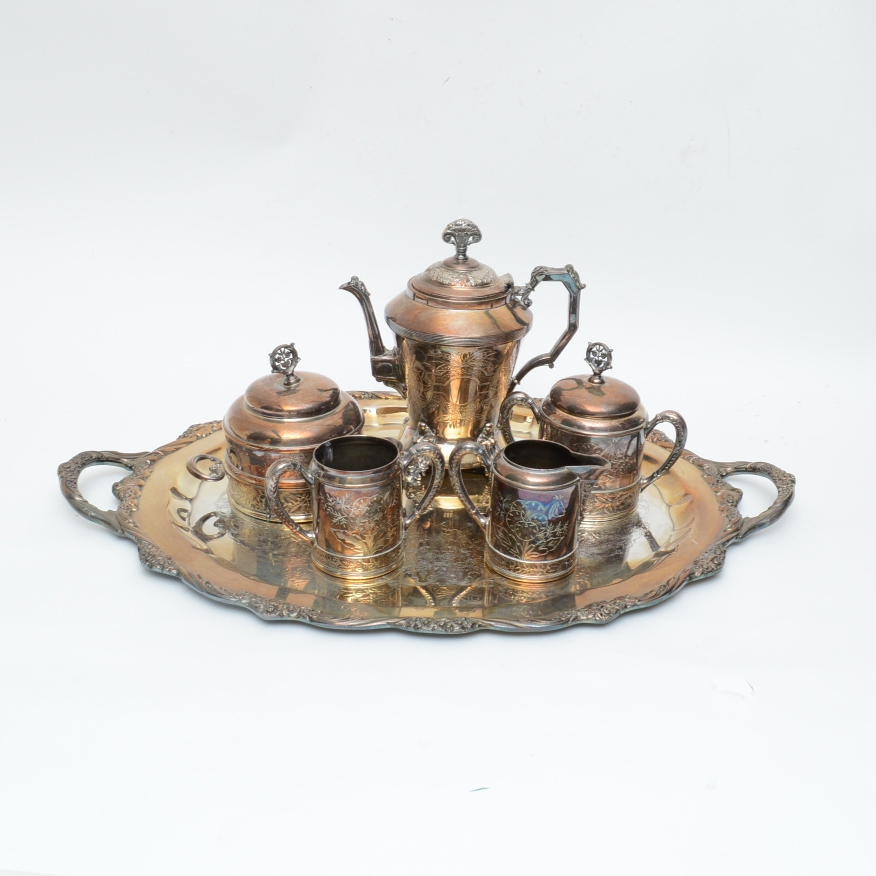Hartford Silver Plate Co. Aesthetic Movement Silver Plated Coffee Service Set