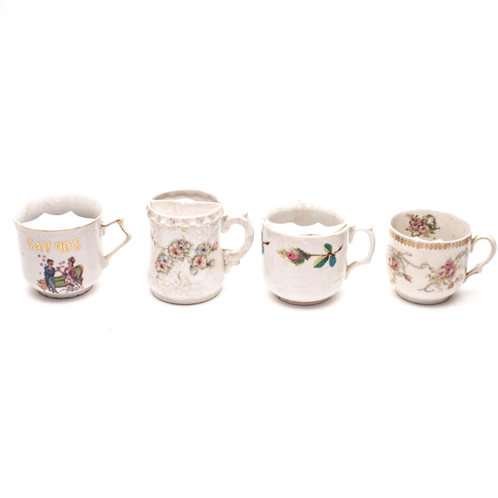 "Antique Mustache Cups Including Zeh, Scherzer & Co. ""Mignon"""