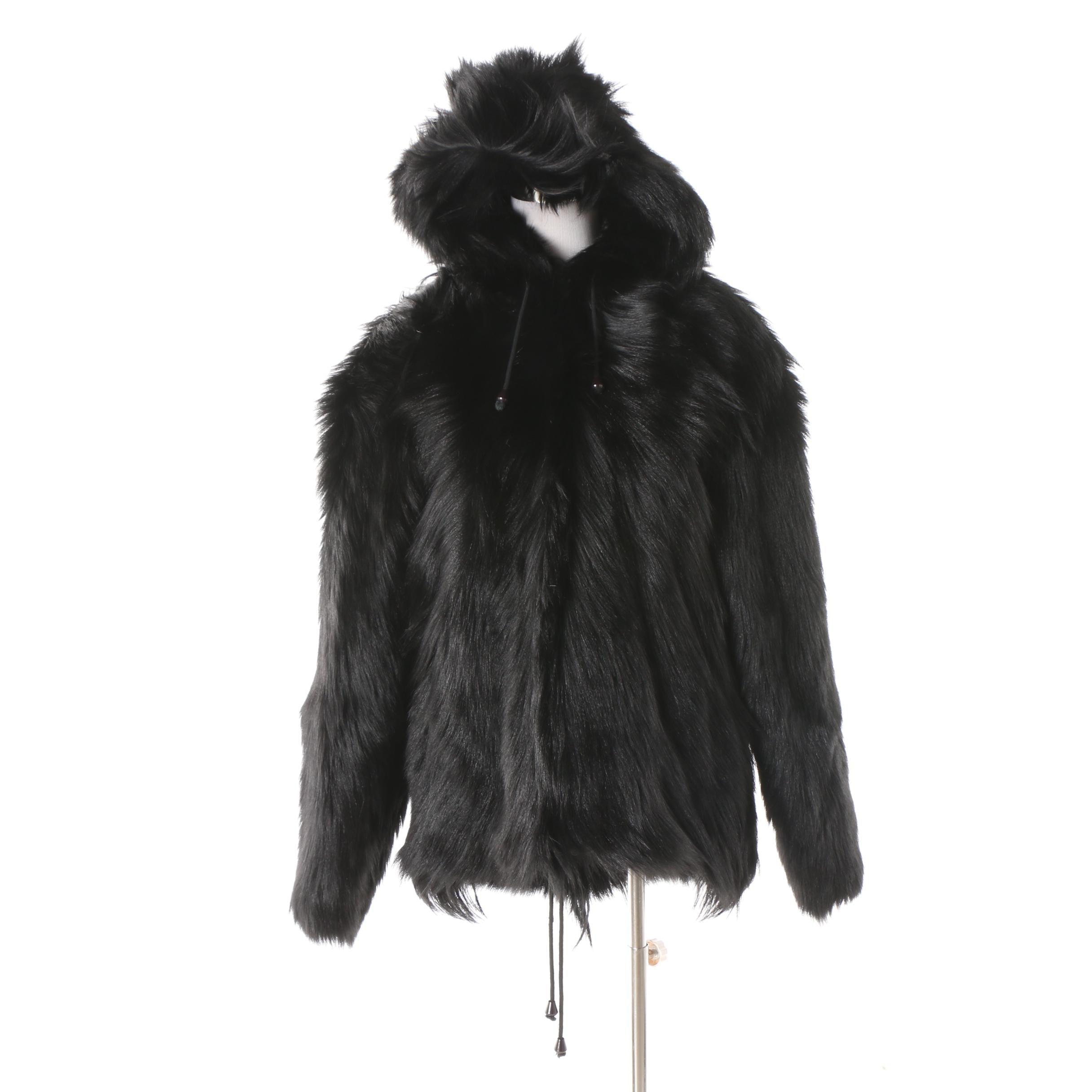 Men's Vintage Tamari Dyed Goat Fur Hooded Jacket