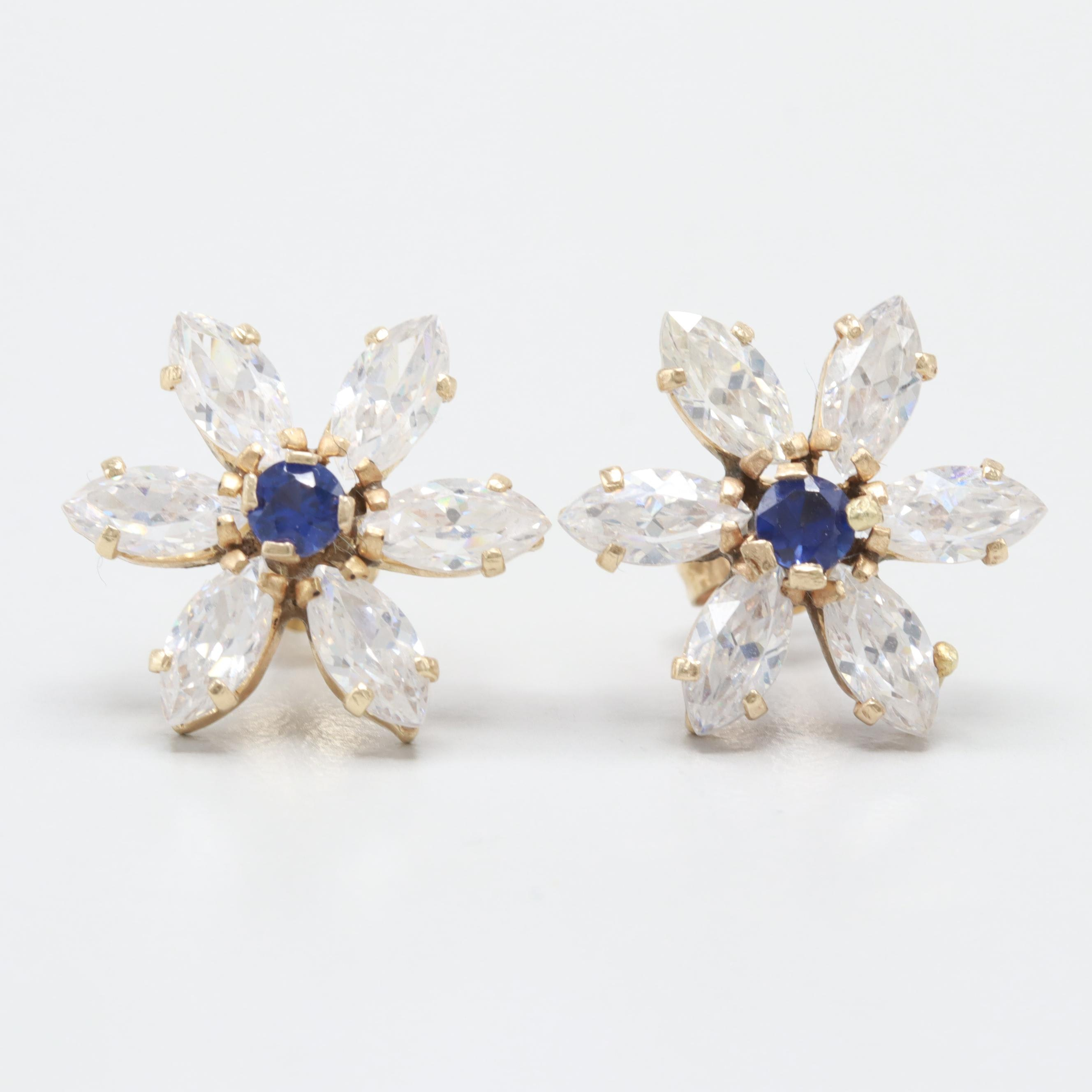 10K Yellow Gold  Synthetic Sapphire and Cubic Zirconia Earrings