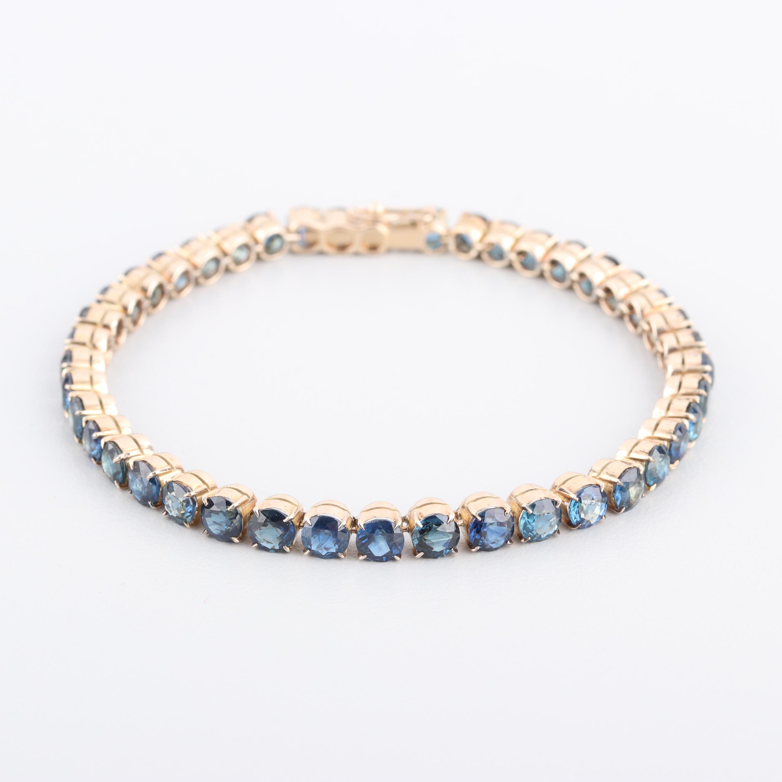 14K Yellow Gold 12.60 CTW Sapphire Bracelet with GIA Report