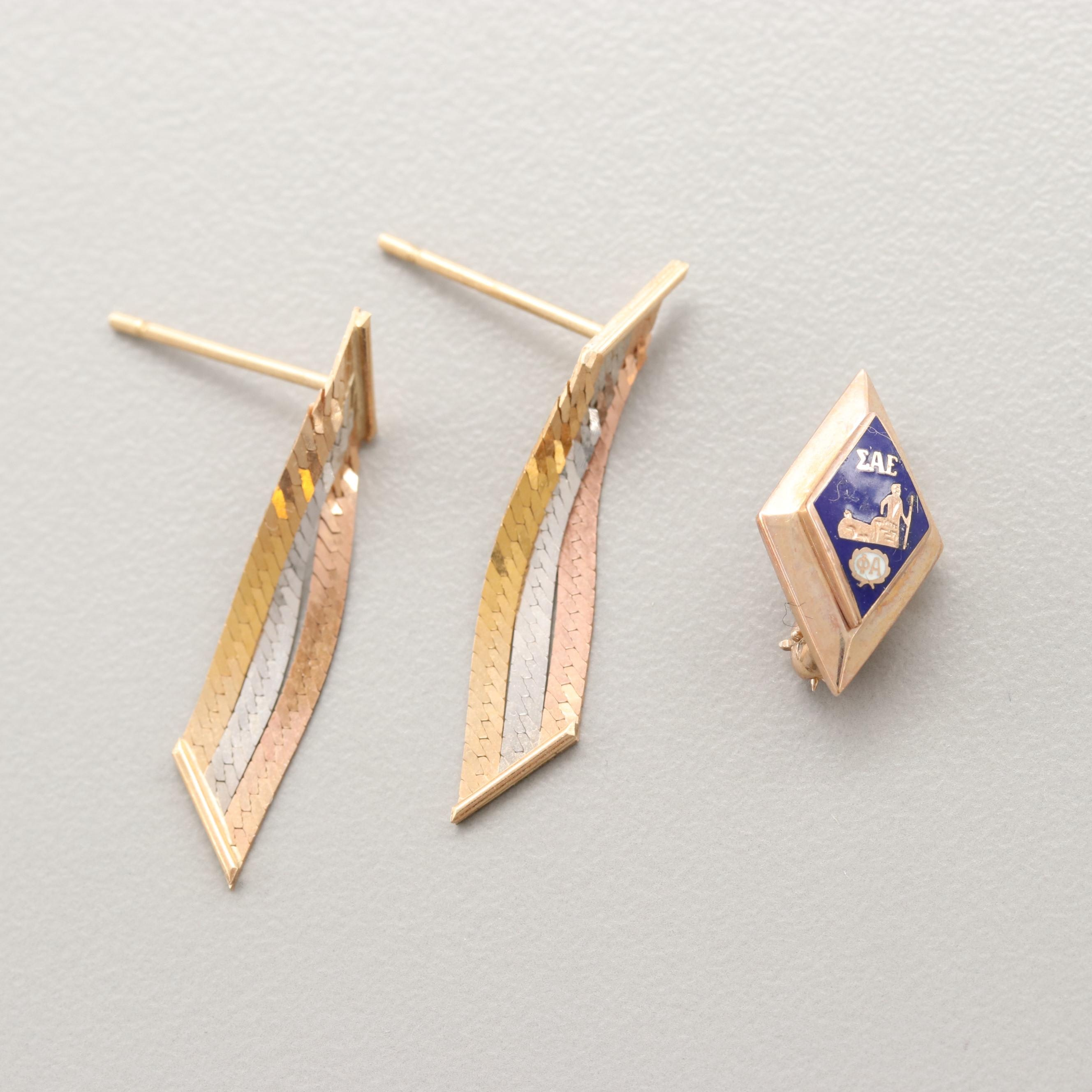 14K Tricolor and 10K Yellow Gold Earrings and Enamel Sigma Alpha Epsilon Pin