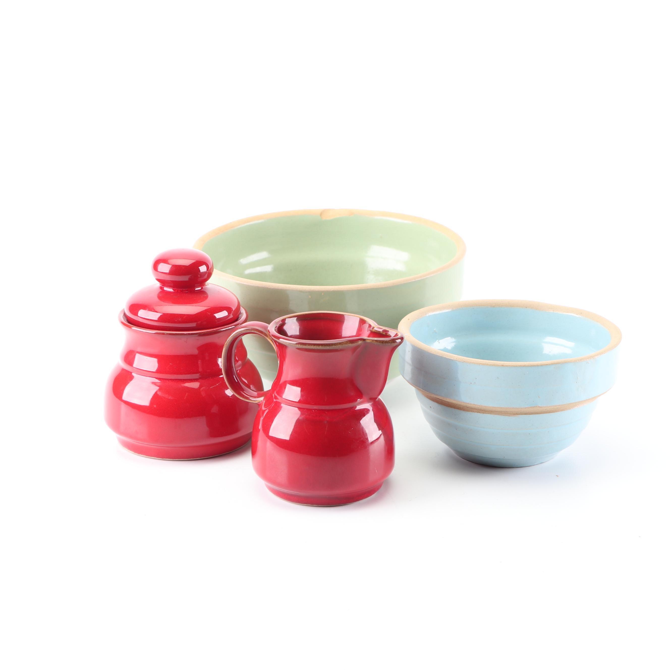 Stoneware Creamer and Sugar with Mixing Bowls