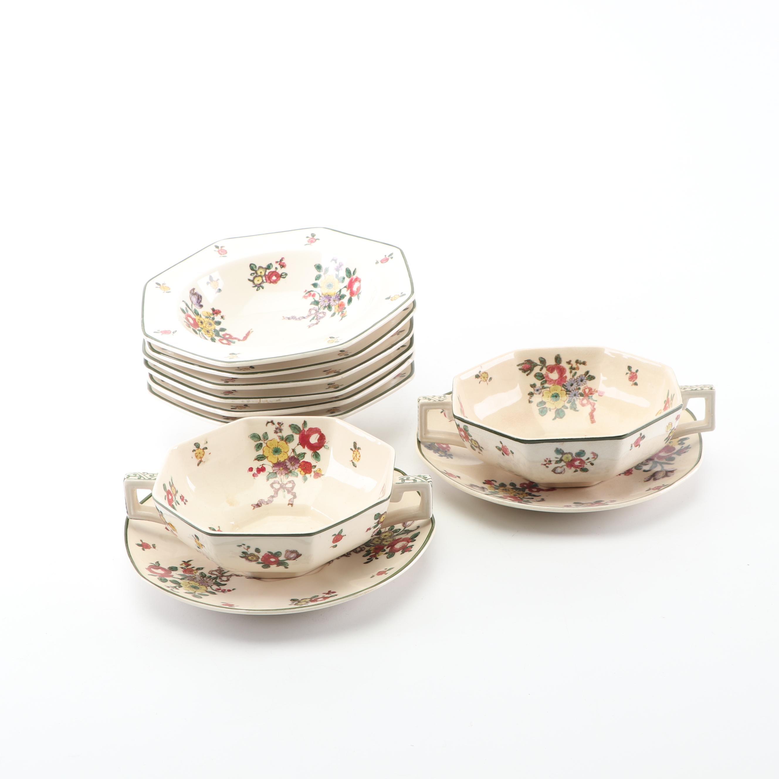 "Royal Doulton ""Old Leeds Sprays"" Cream Soup Bowls and Dessert Bowls, Circa 1912"
