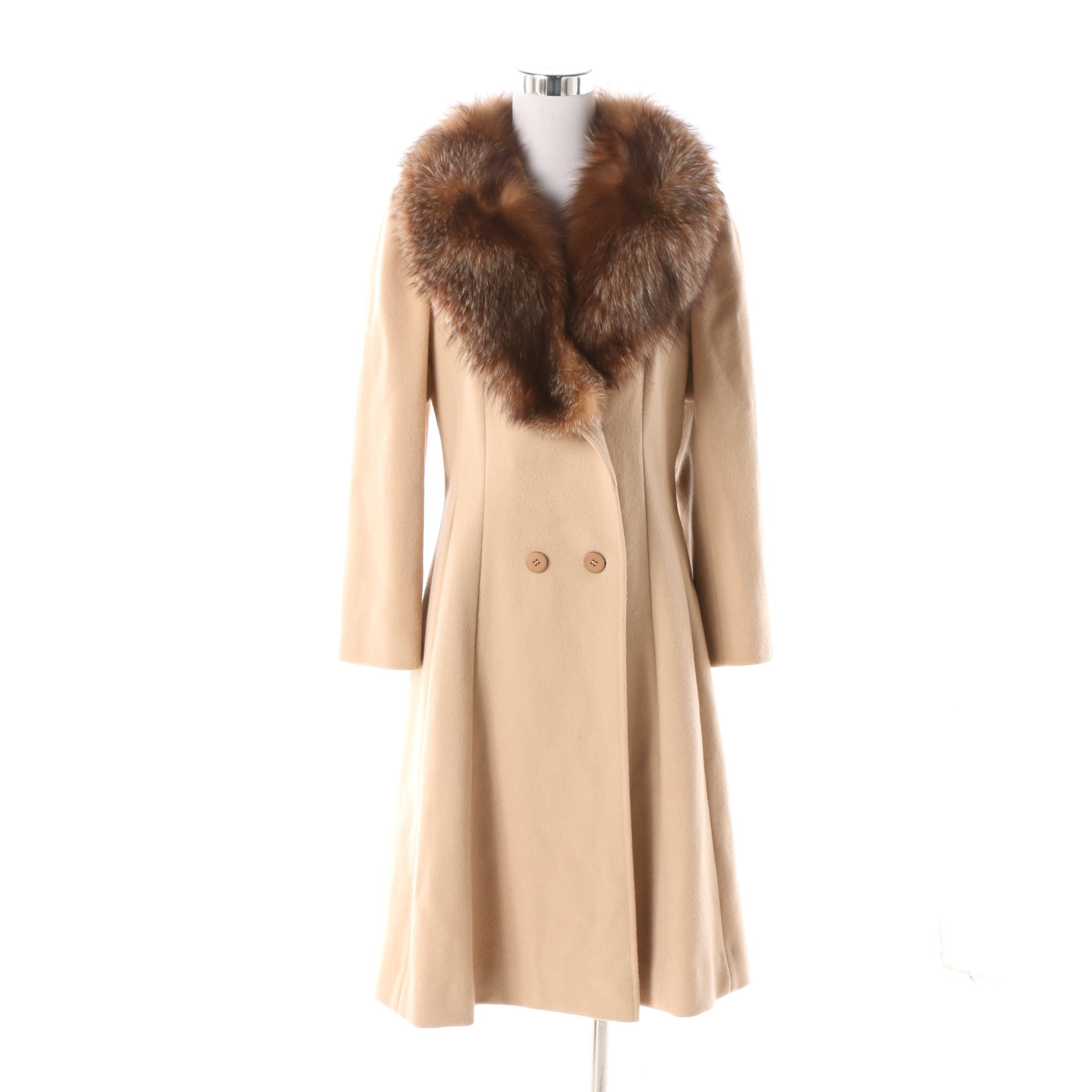 Women's Circa 1970s Alorna Forstmann Wool Princess Coat with Fox Fur Collar