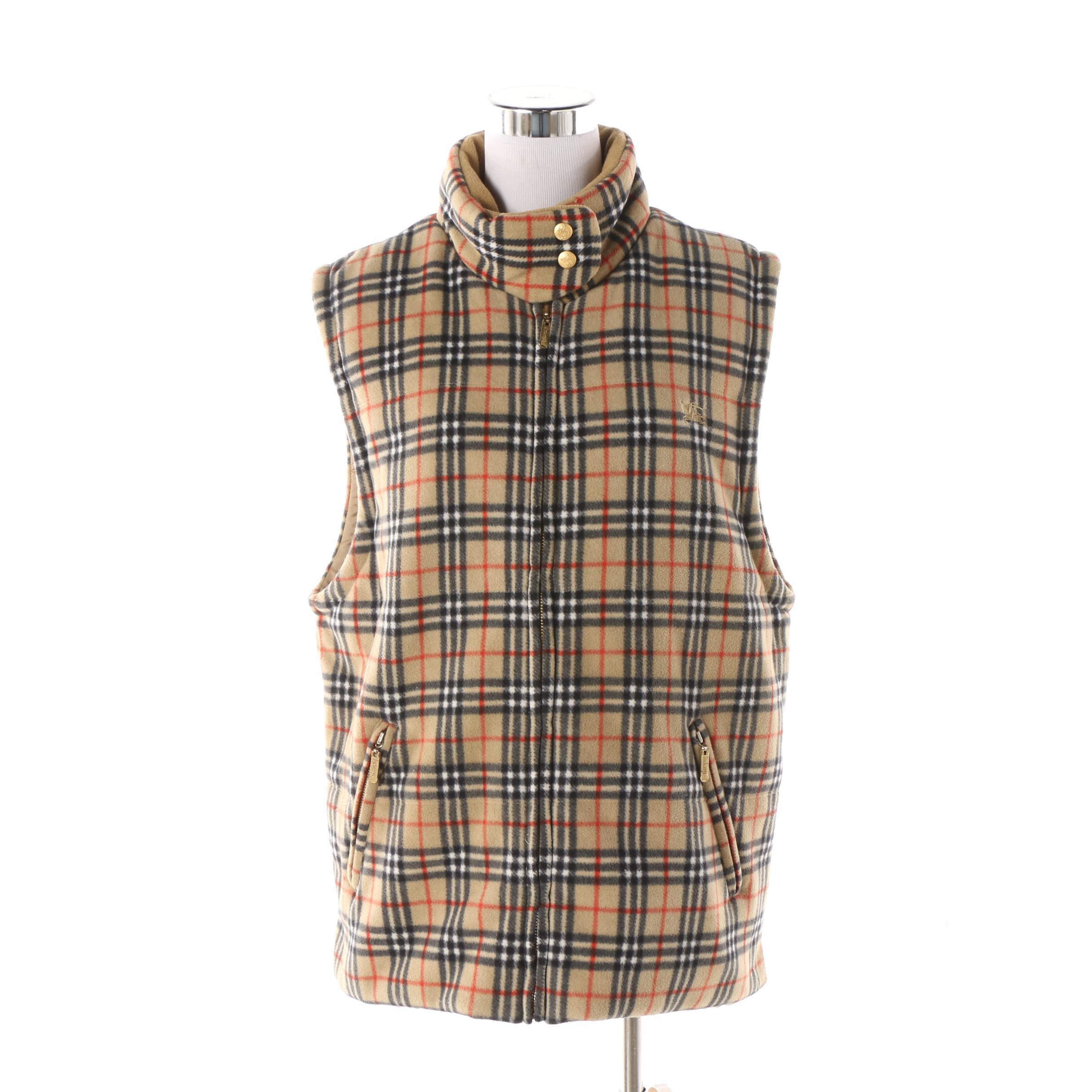 """Women's Vintage Burberrys of London """"Nova Check"""" Fleece Zip Vest"""