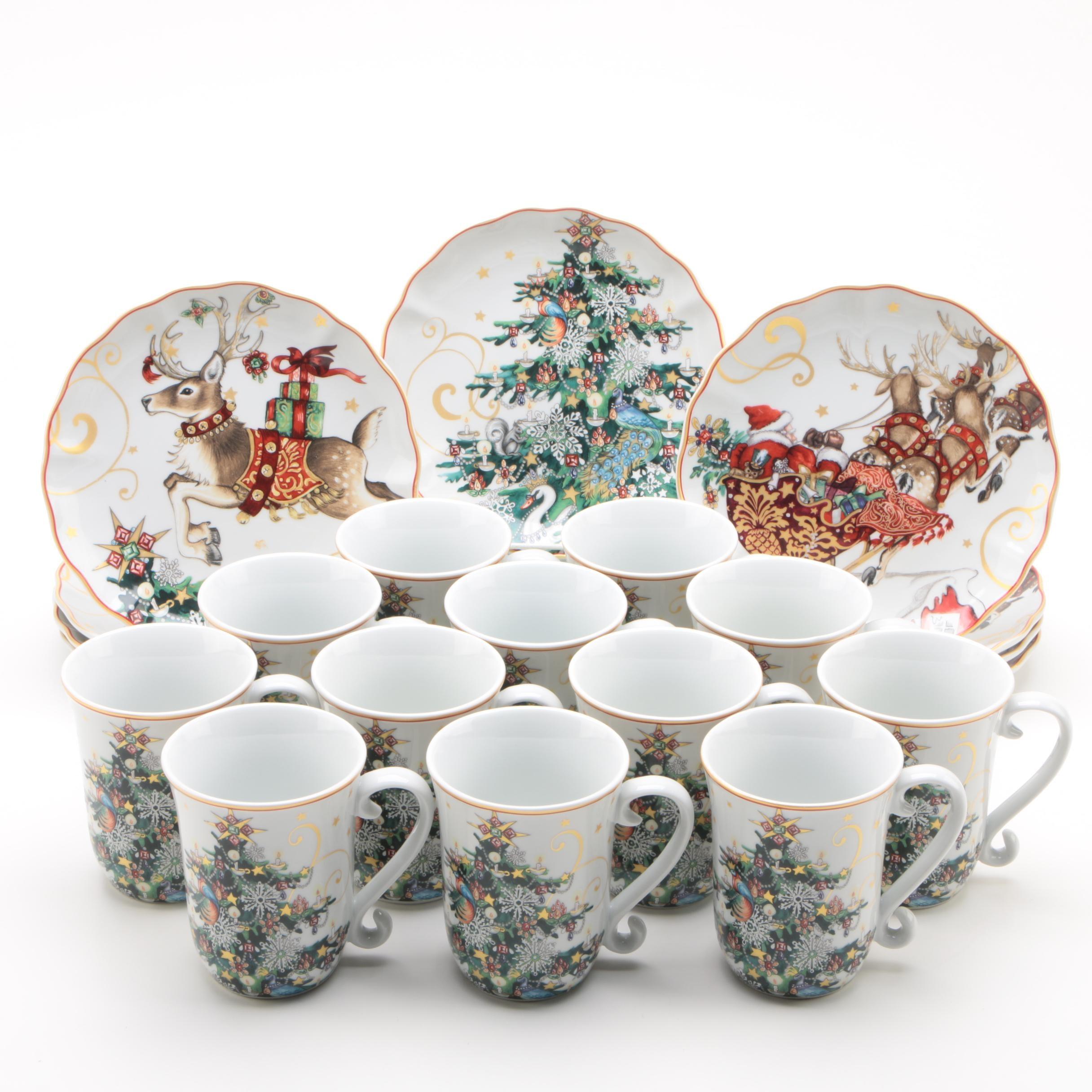 Williams-Sonoma Christmas Themed Plates and Mugs