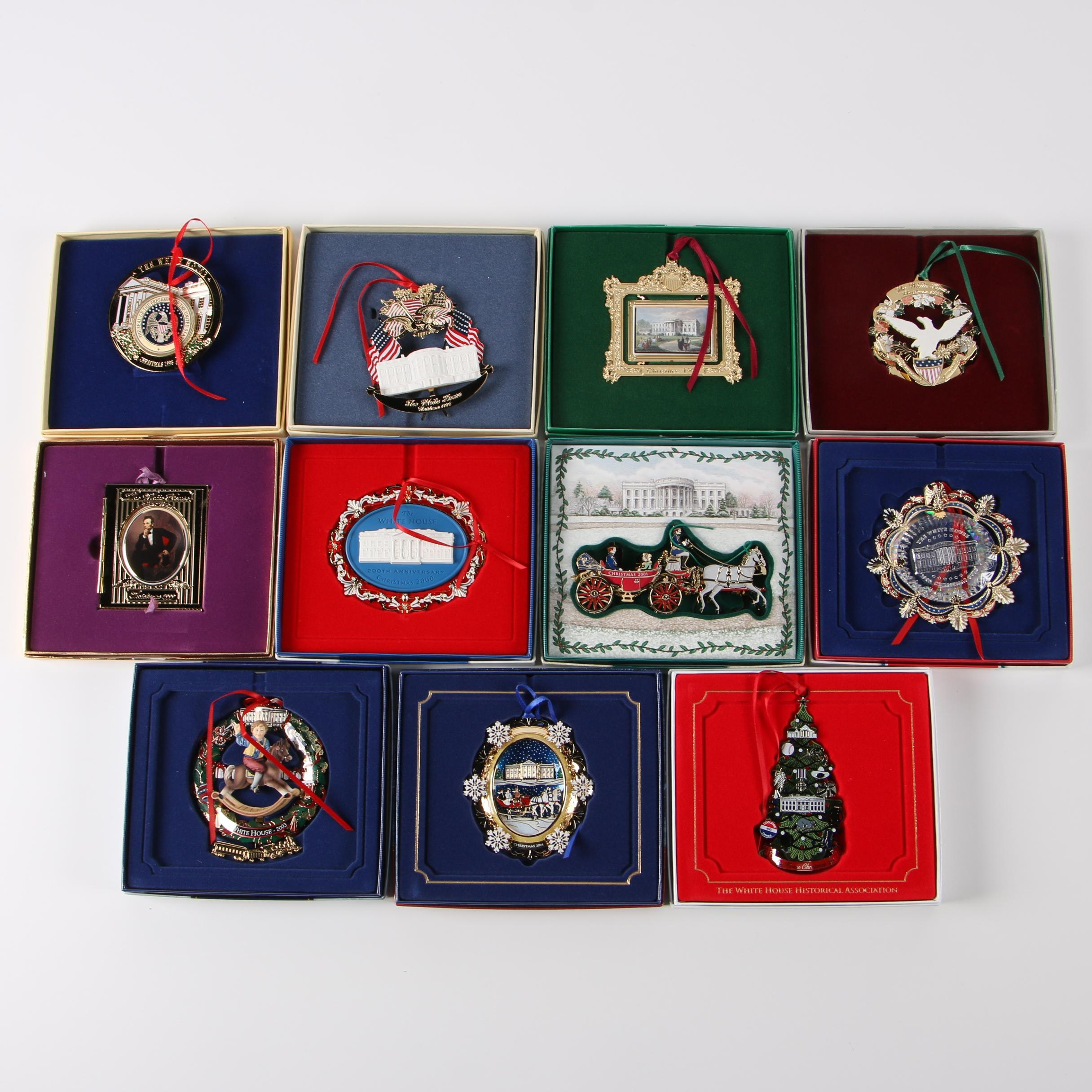 Annual White House Christmas Ornaments with 24K Gold, 1995 - 2004 and 2015