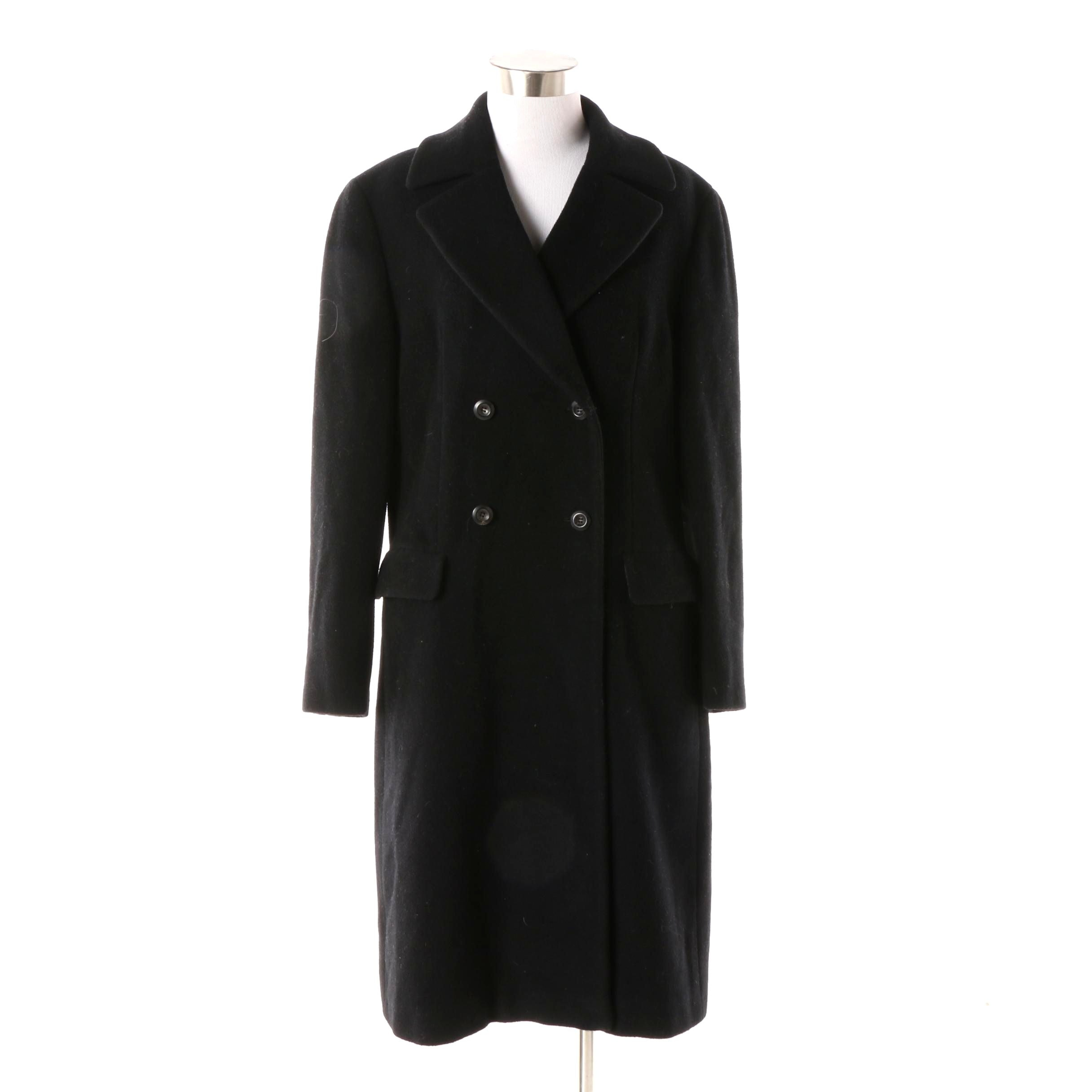 Women's Circa 1990s Giorgio Armani Double-Breasted Black Wool Coat