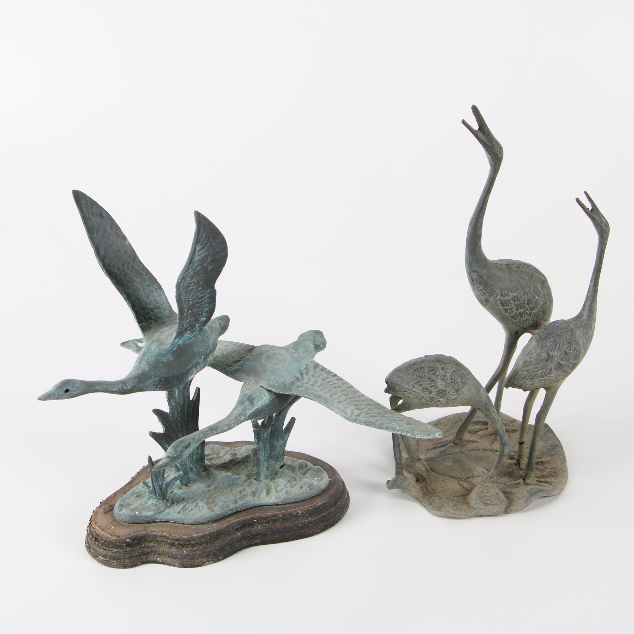 Vintage Metal Crane and Goose Sculptures