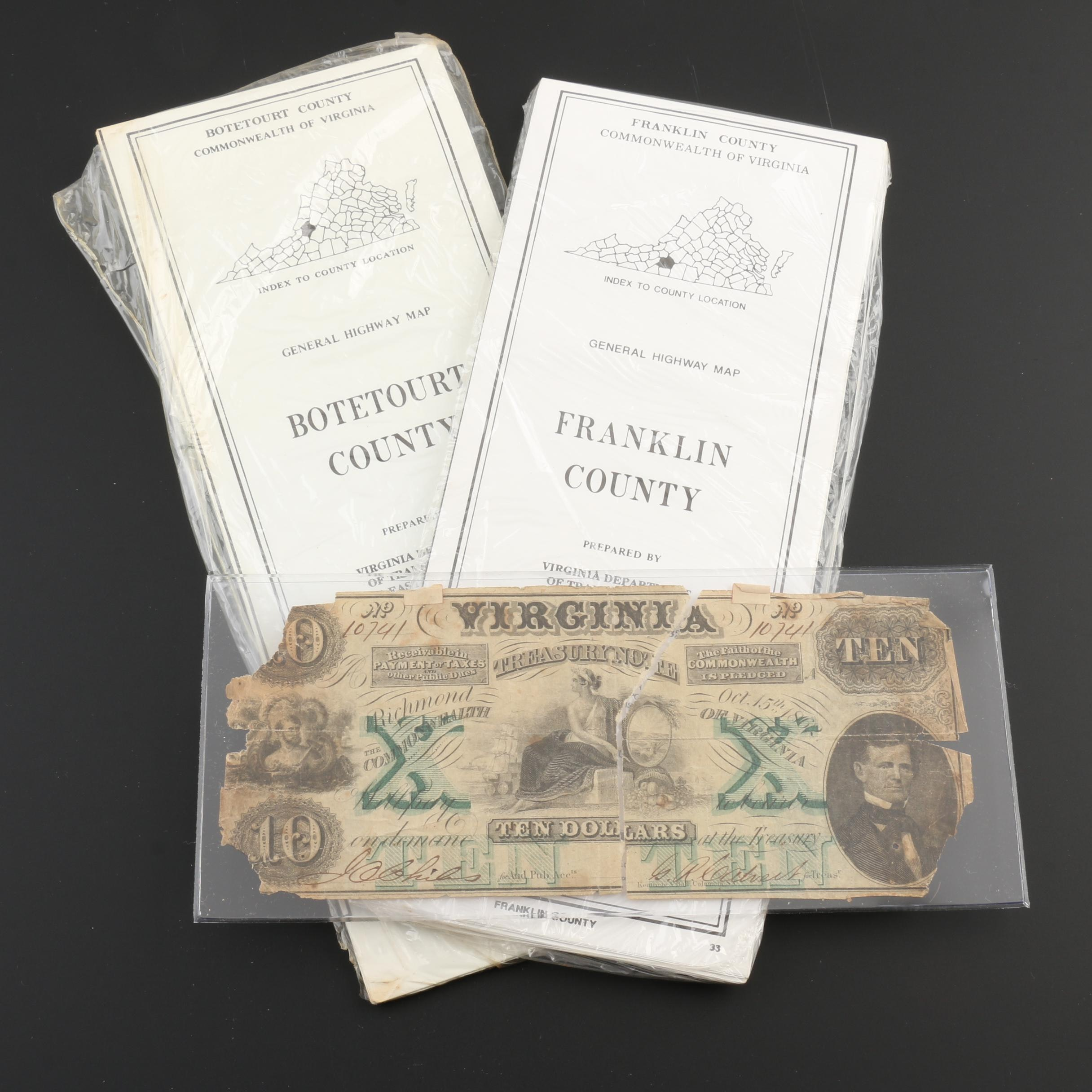 1862 $10 Virginia Treasury Note and Two Virginia County Maps