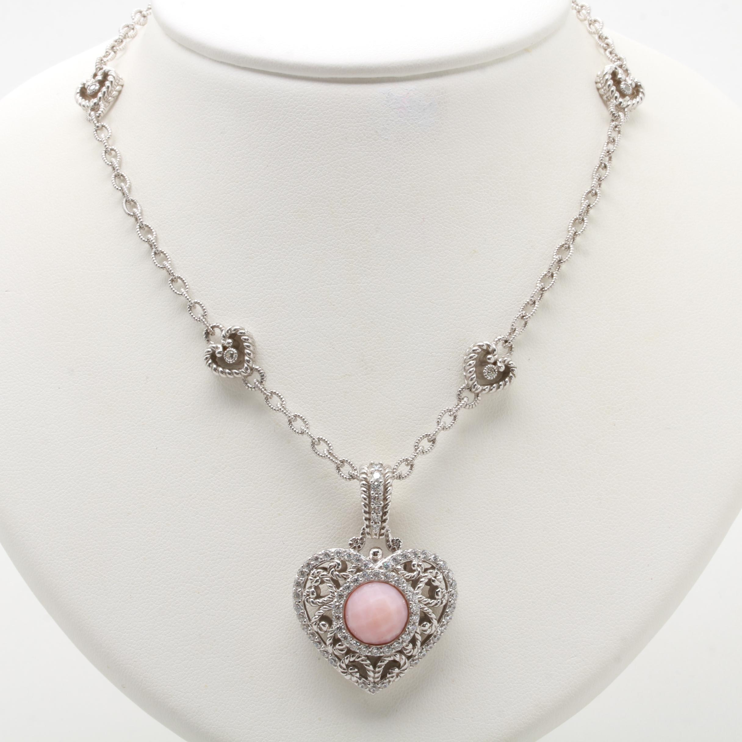 Judith Ripka Sterling Silver Rhodochrosite and Cubic Zirconia Necklace